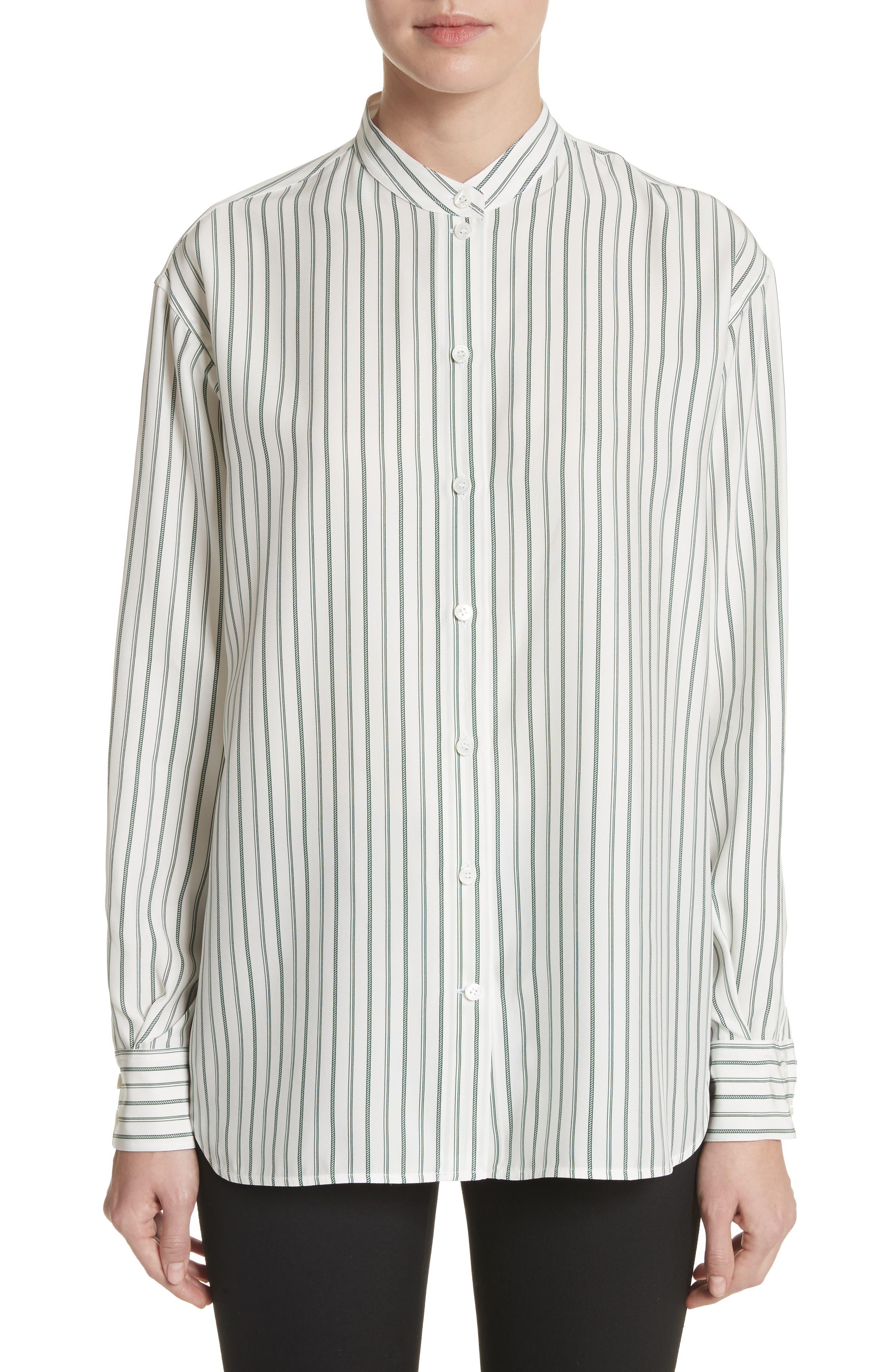 Stripe Silk Granddad Shirt,                             Main thumbnail 1, color,                             DARK GREEN/ OFF WHITE