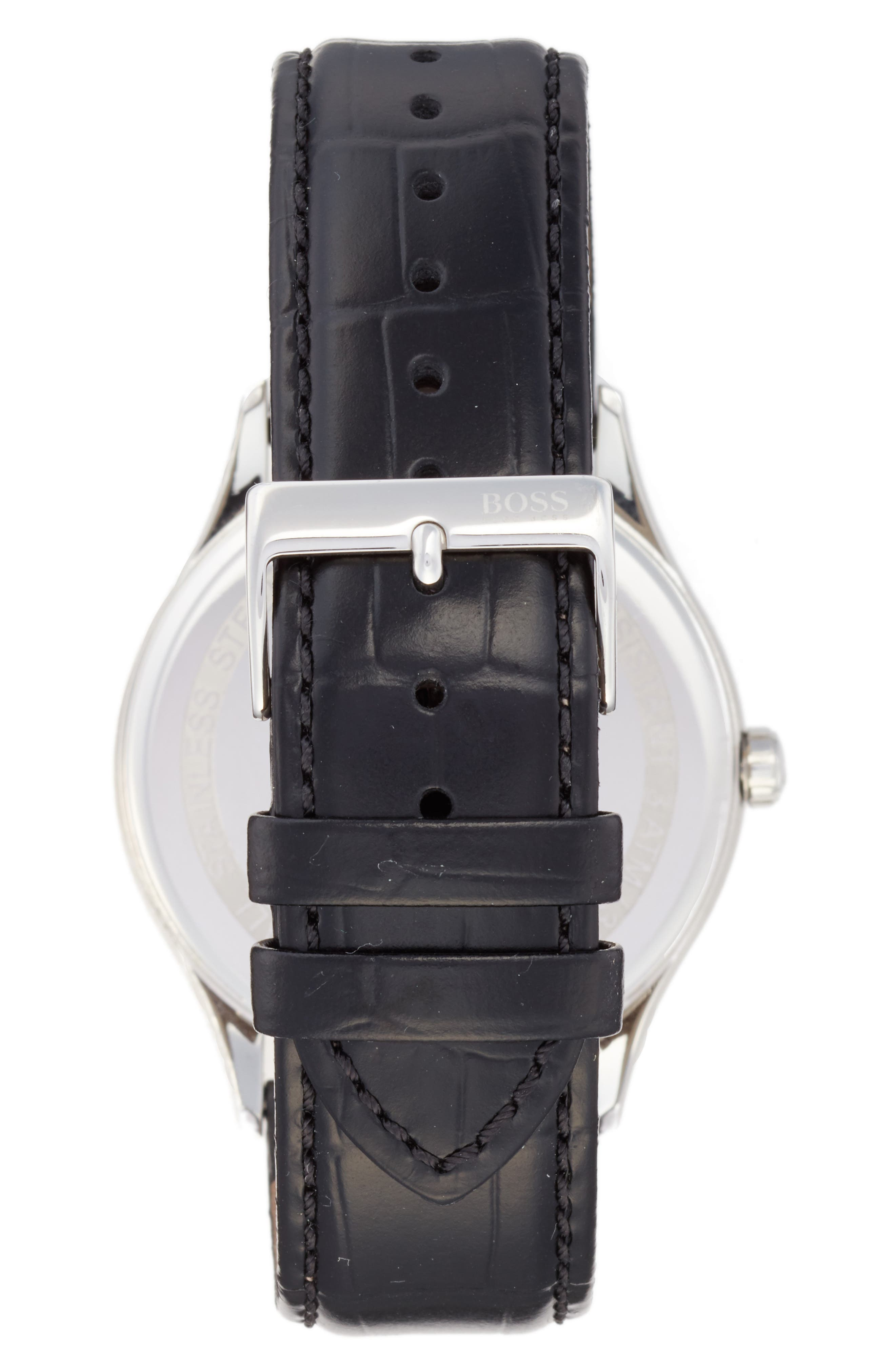 Governor Croc Embossed Leather Strap Watch, 44mm,                             Alternate thumbnail 2, color,                             001
