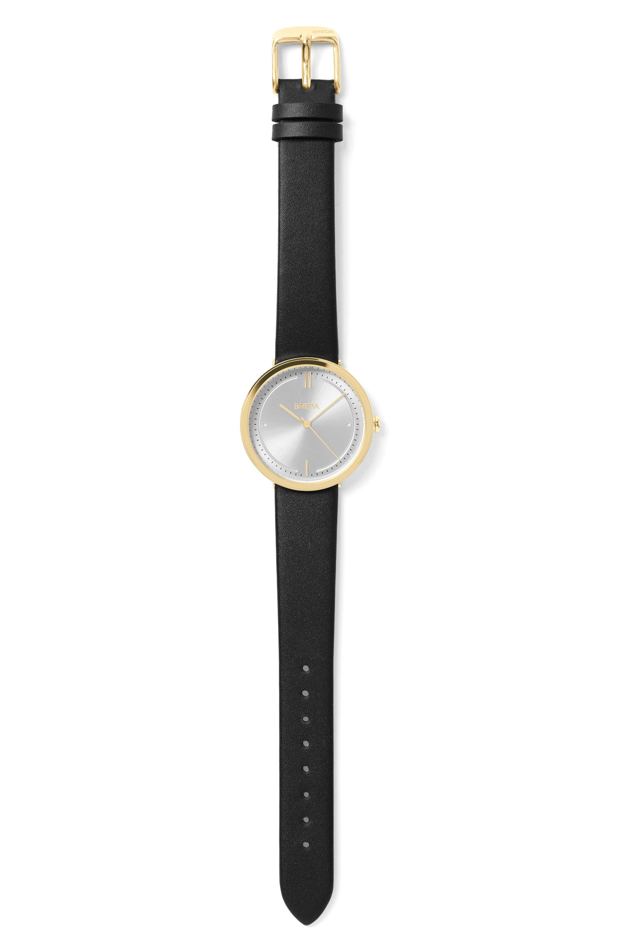 Agnes Leather Strap Watch, 34mm,                             Alternate thumbnail 2, color,                             001