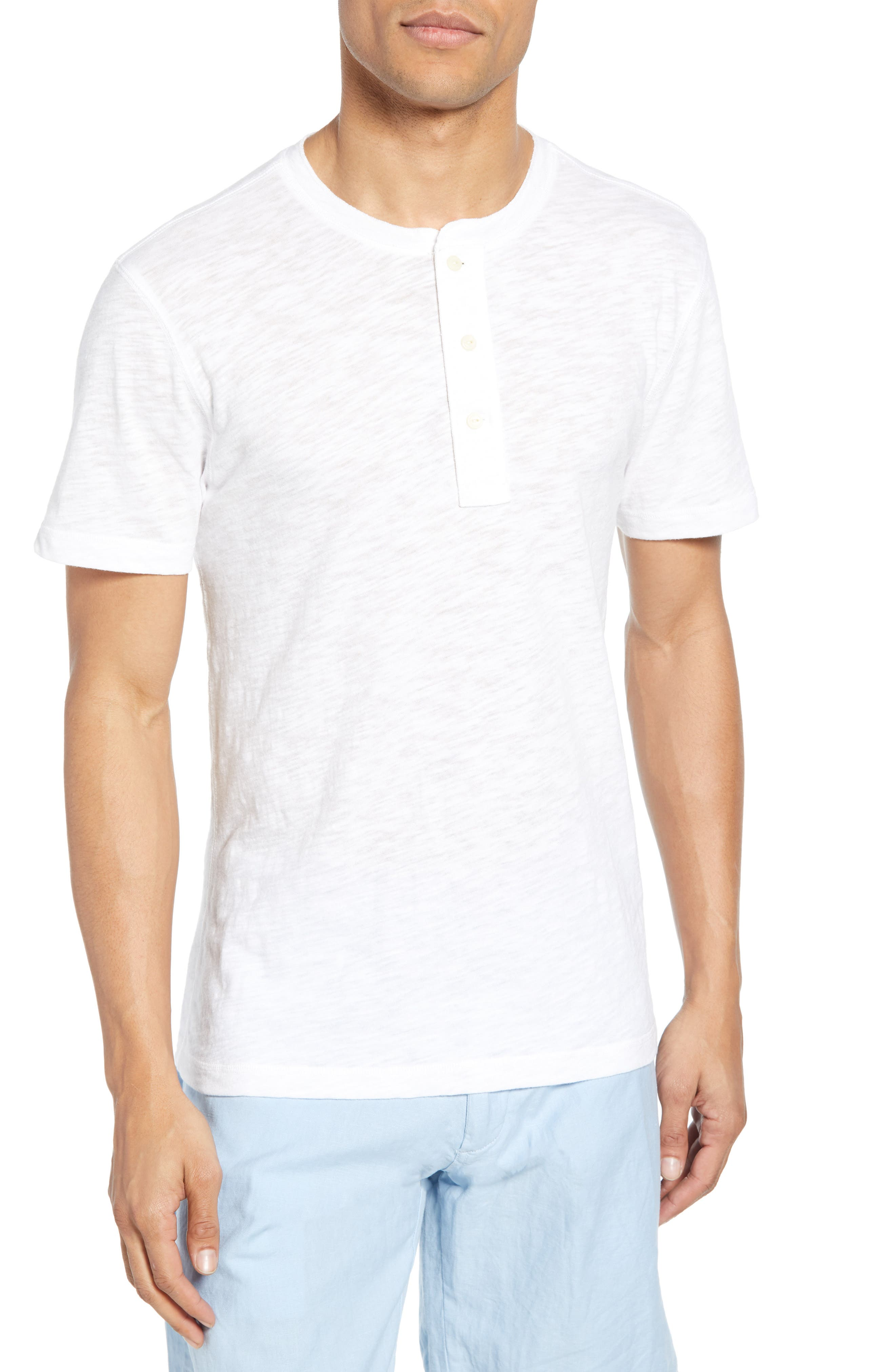 Faherty Heathered Henley, White