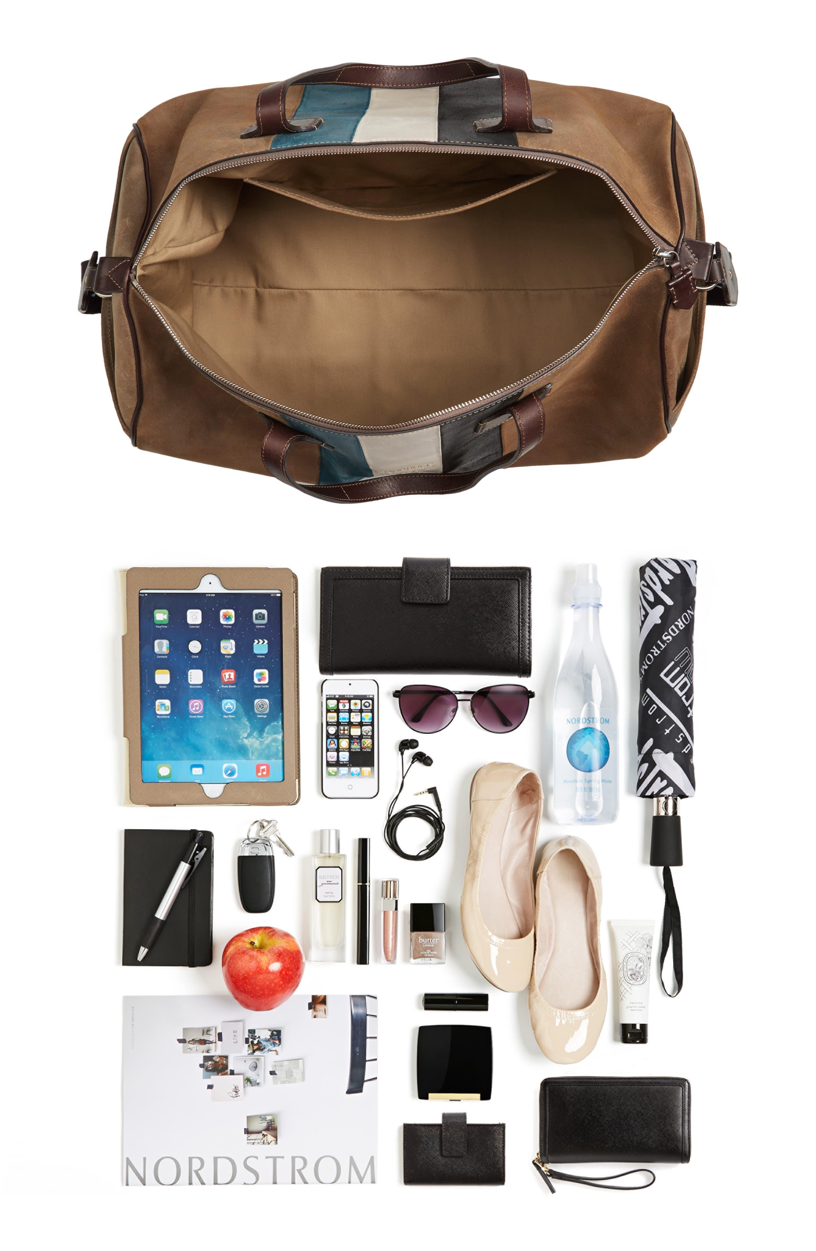 Grove Stripe Leather Duffel Bag,                             Alternate thumbnail 6, color,                             250
