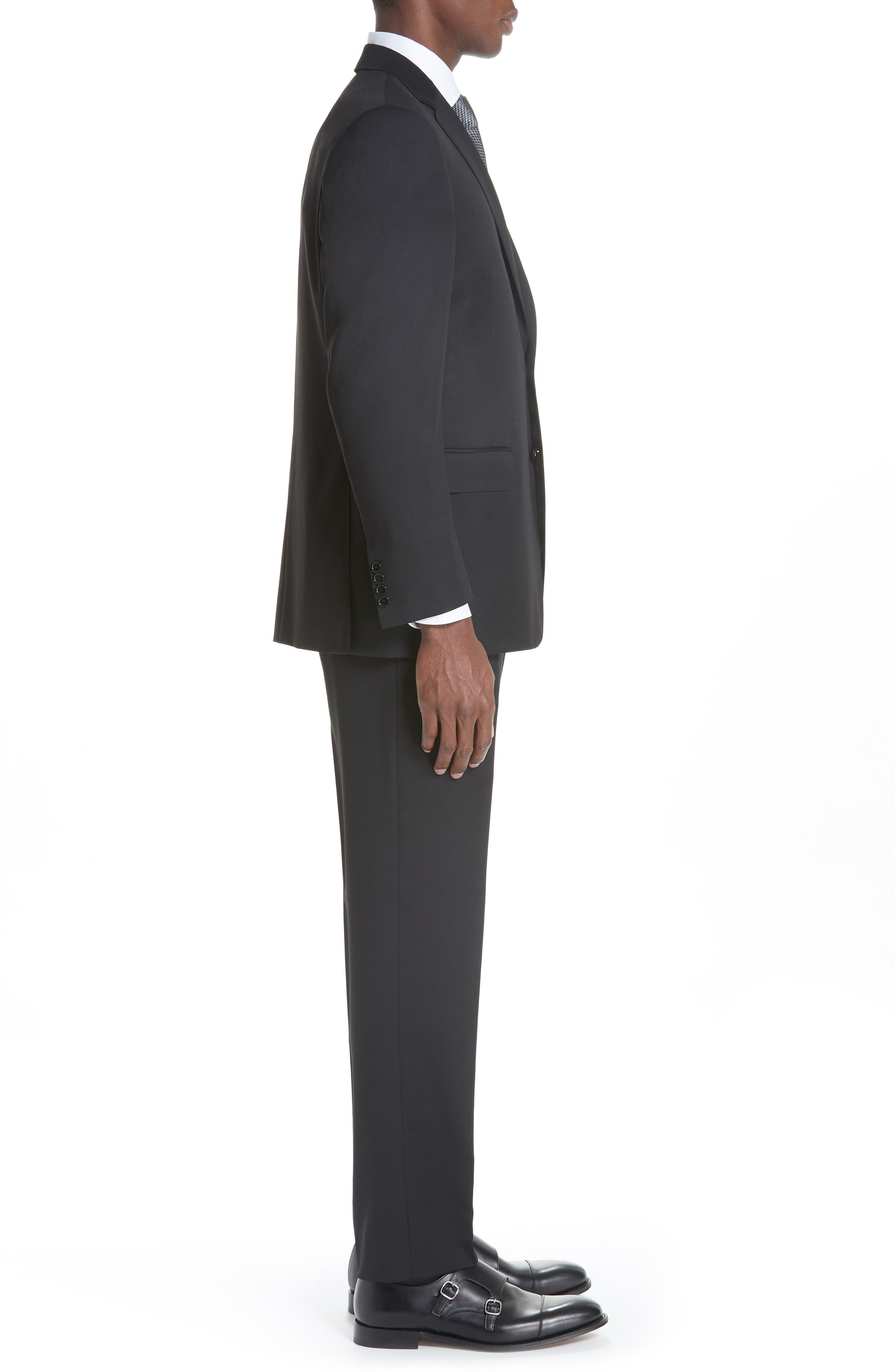 Classic Fit Solid Wool Suit,                             Alternate thumbnail 3, color,                             BLACK