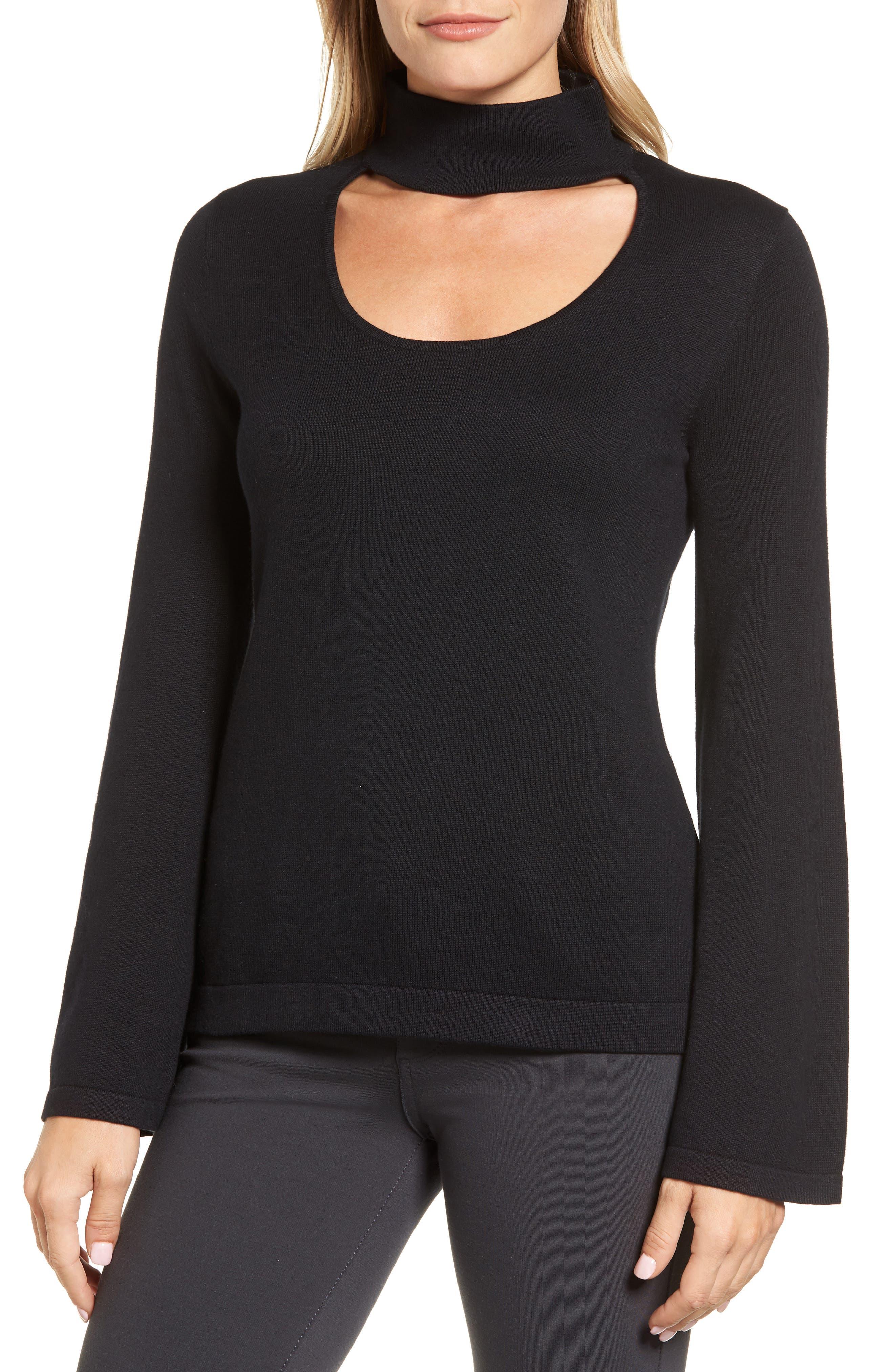 Bell Sleeve Choker Neck Sweater,                             Main thumbnail 1, color,