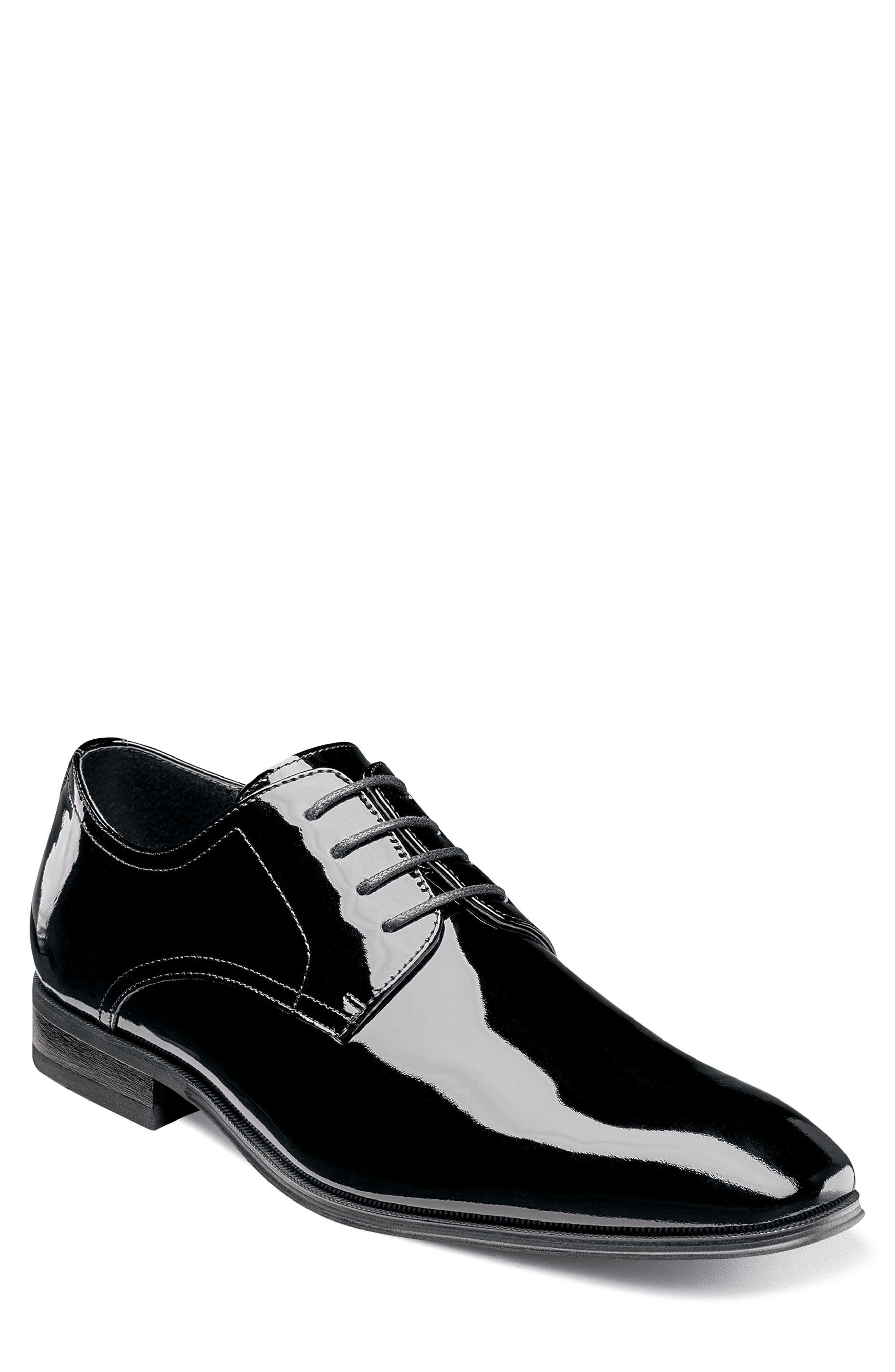 Tux Plain Toe Derby,                             Main thumbnail 1, color,                             BLACK PATENT LEATHER