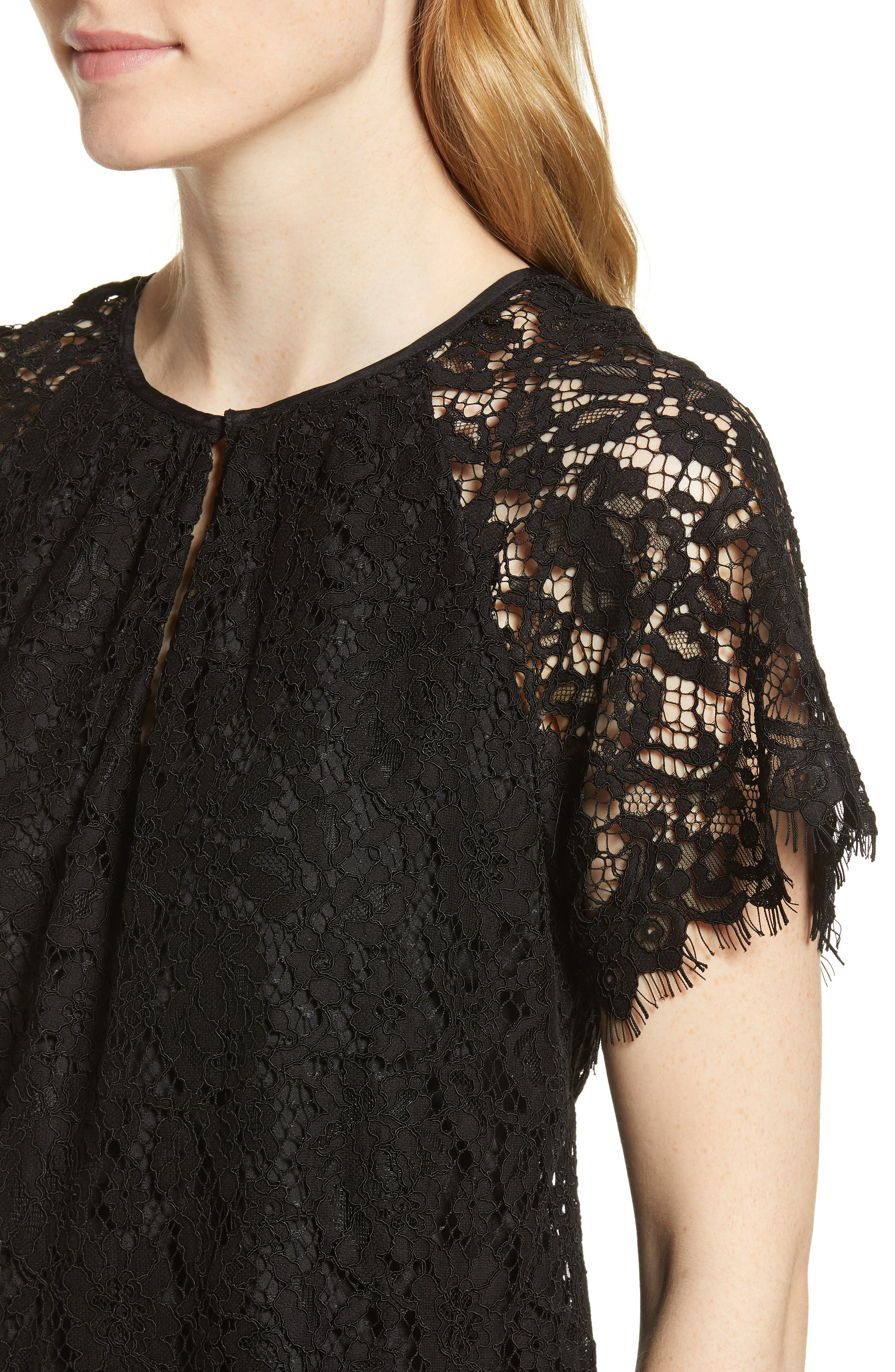 J.CREW,                             Short Sleeve Lace Top,                             Alternate thumbnail 4, color,                             001