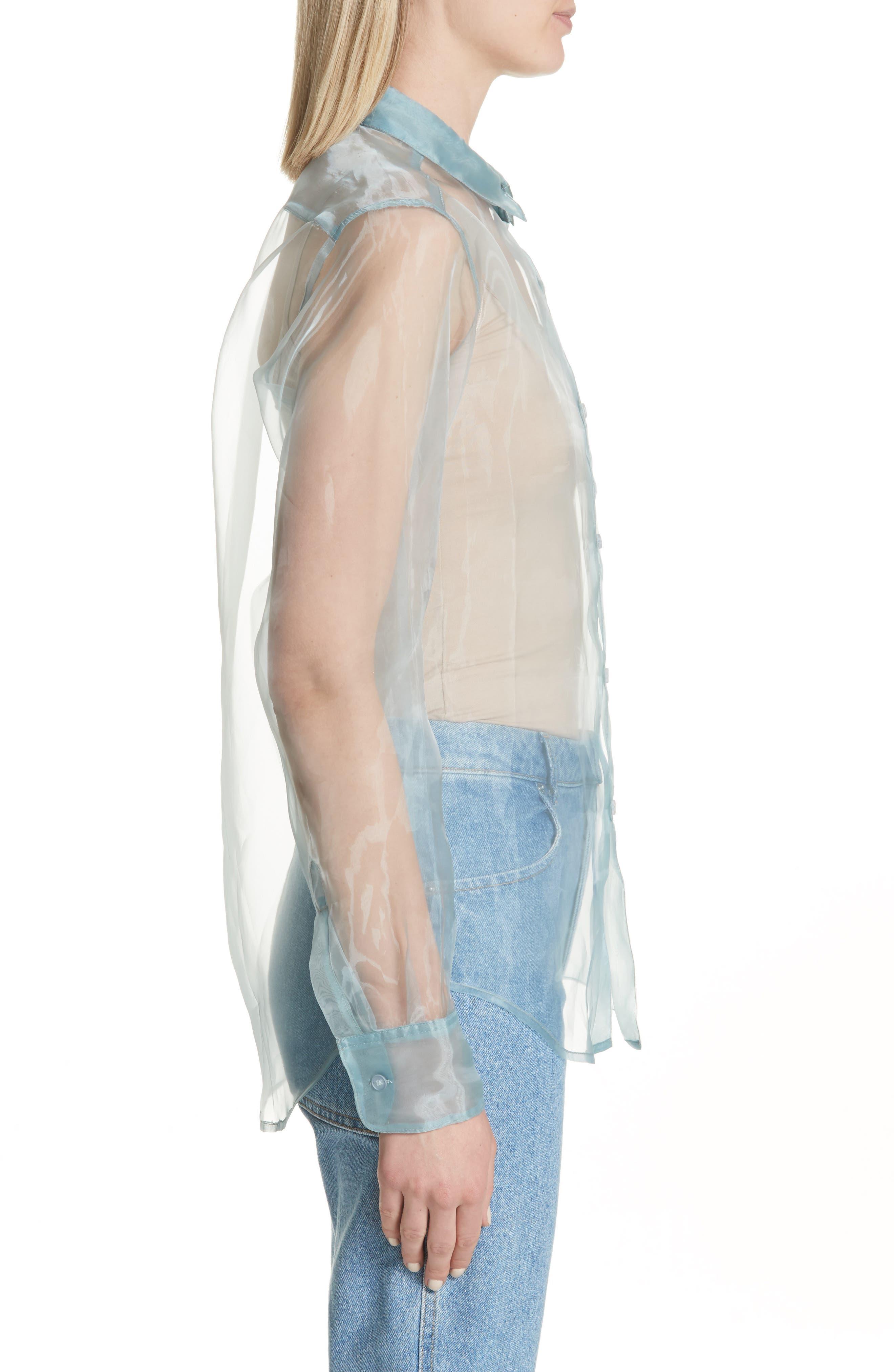 Iridescent Sheer Organza Shirt,                             Alternate thumbnail 3, color,                             400
