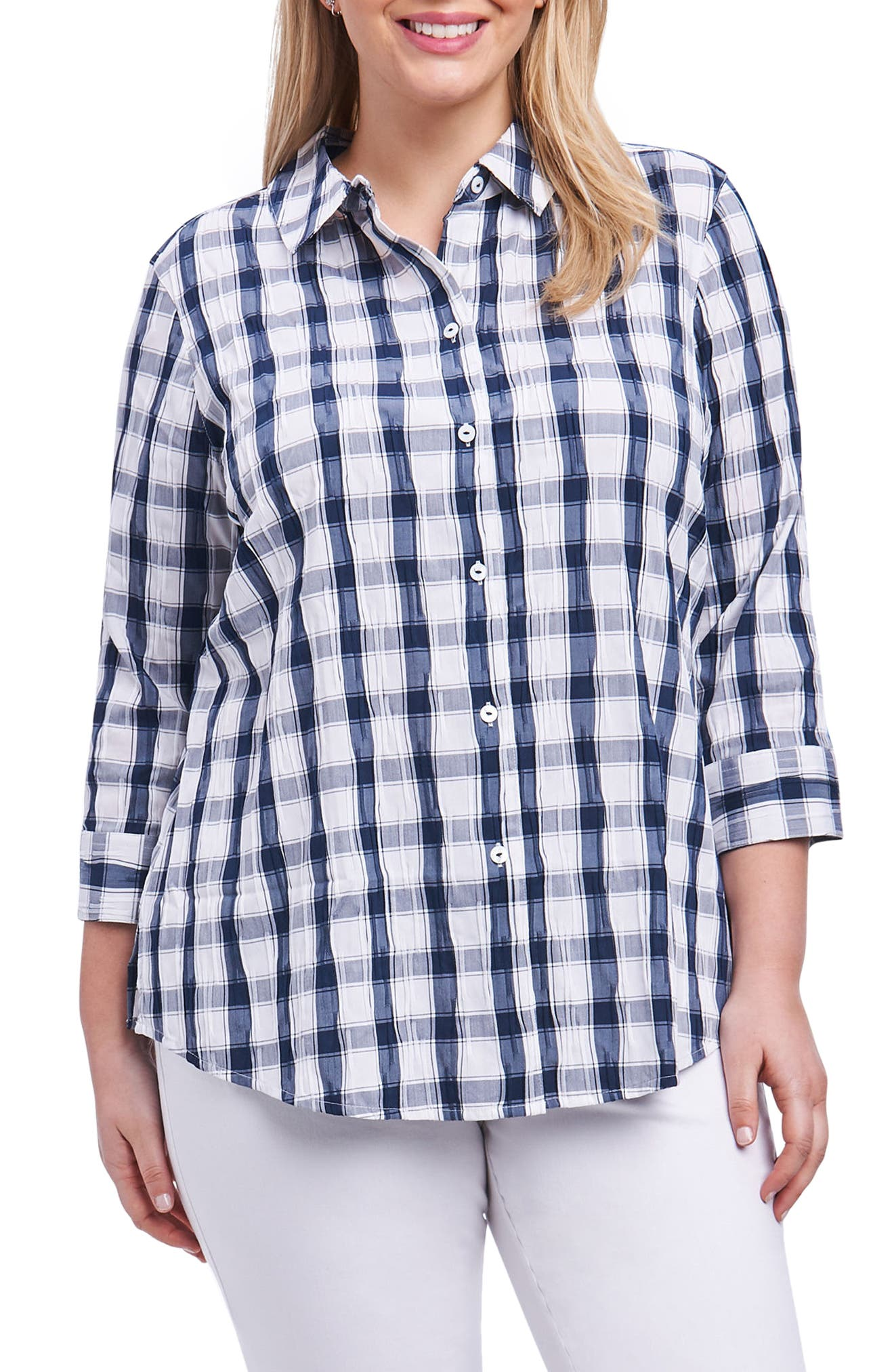 Sue Shaped Fit Crinkle Plaid Shirt,                         Main,                         color, 415