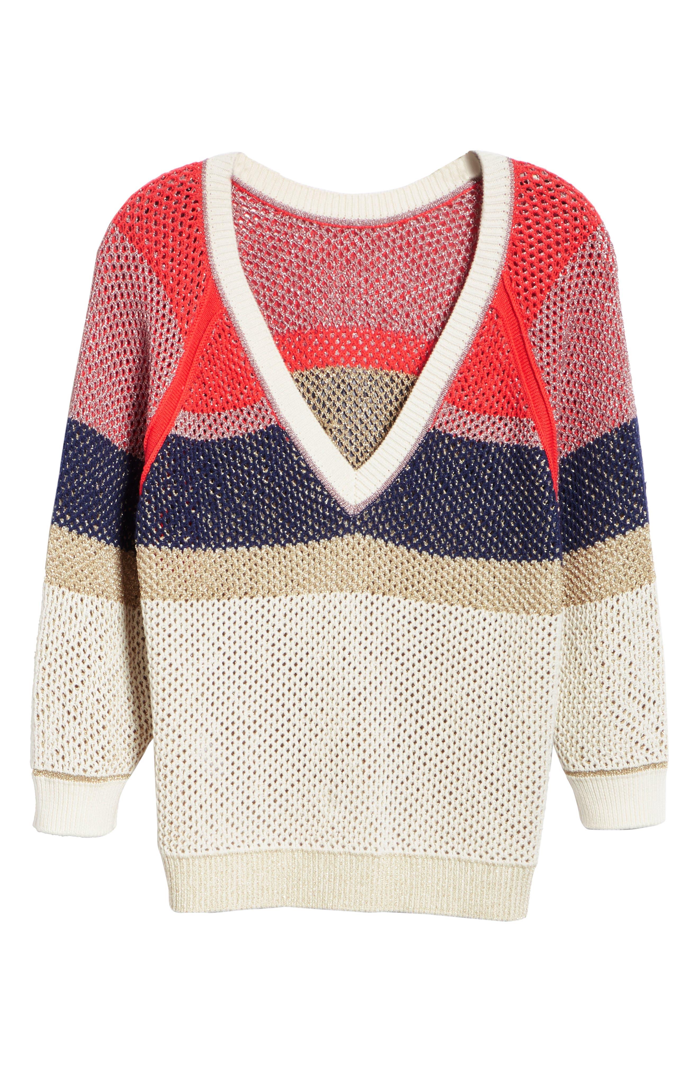 Hera Colorblock V-Back Sweater,                             Alternate thumbnail 6, color,                             MULTICOLOR