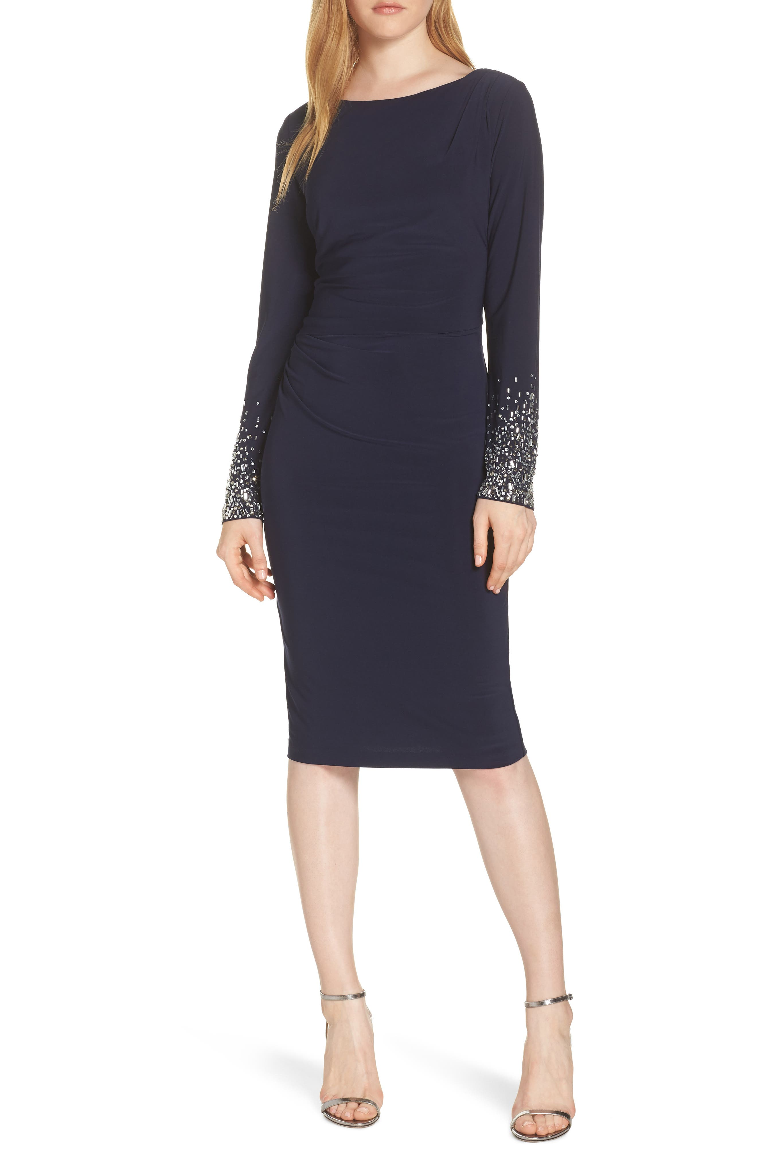 Vince Camuto Long Sleeve Bateau Neck Cocktail Dress, Blue