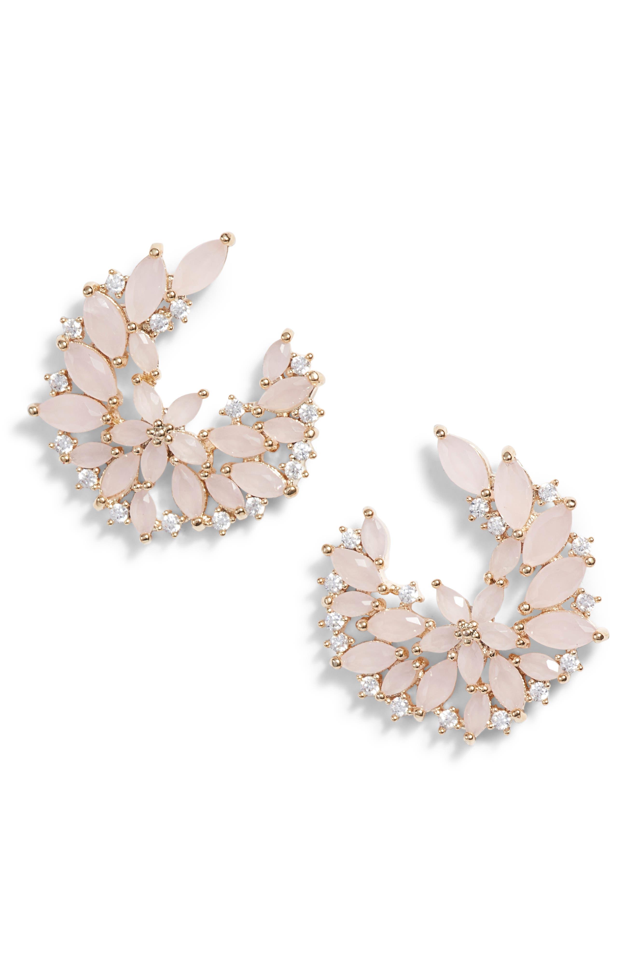 SEREFINA Floral Cubic Zirconia Earrings in Blush