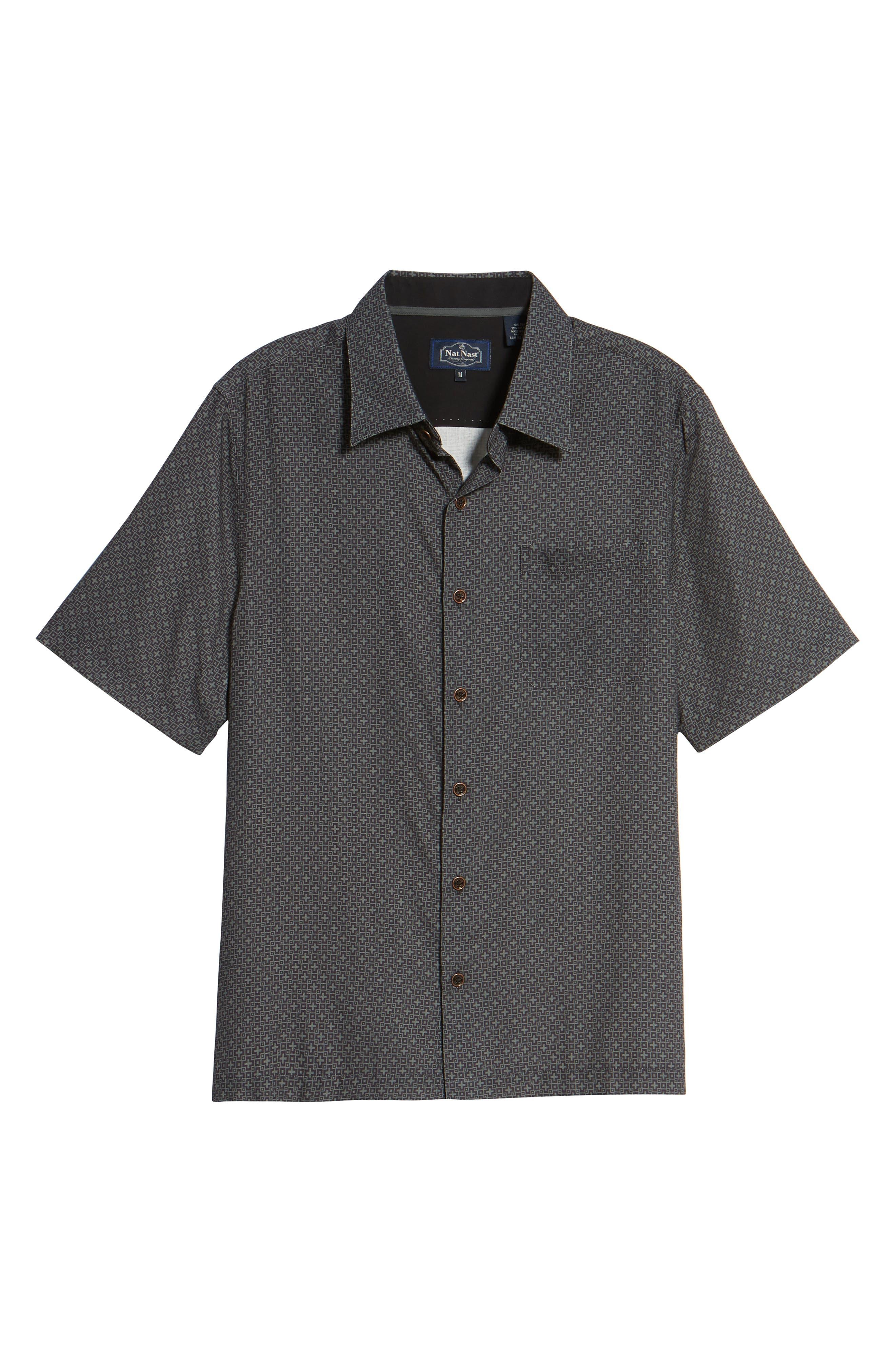 Everest Print Silk Blend Sport Shirt,                             Alternate thumbnail 16, color,