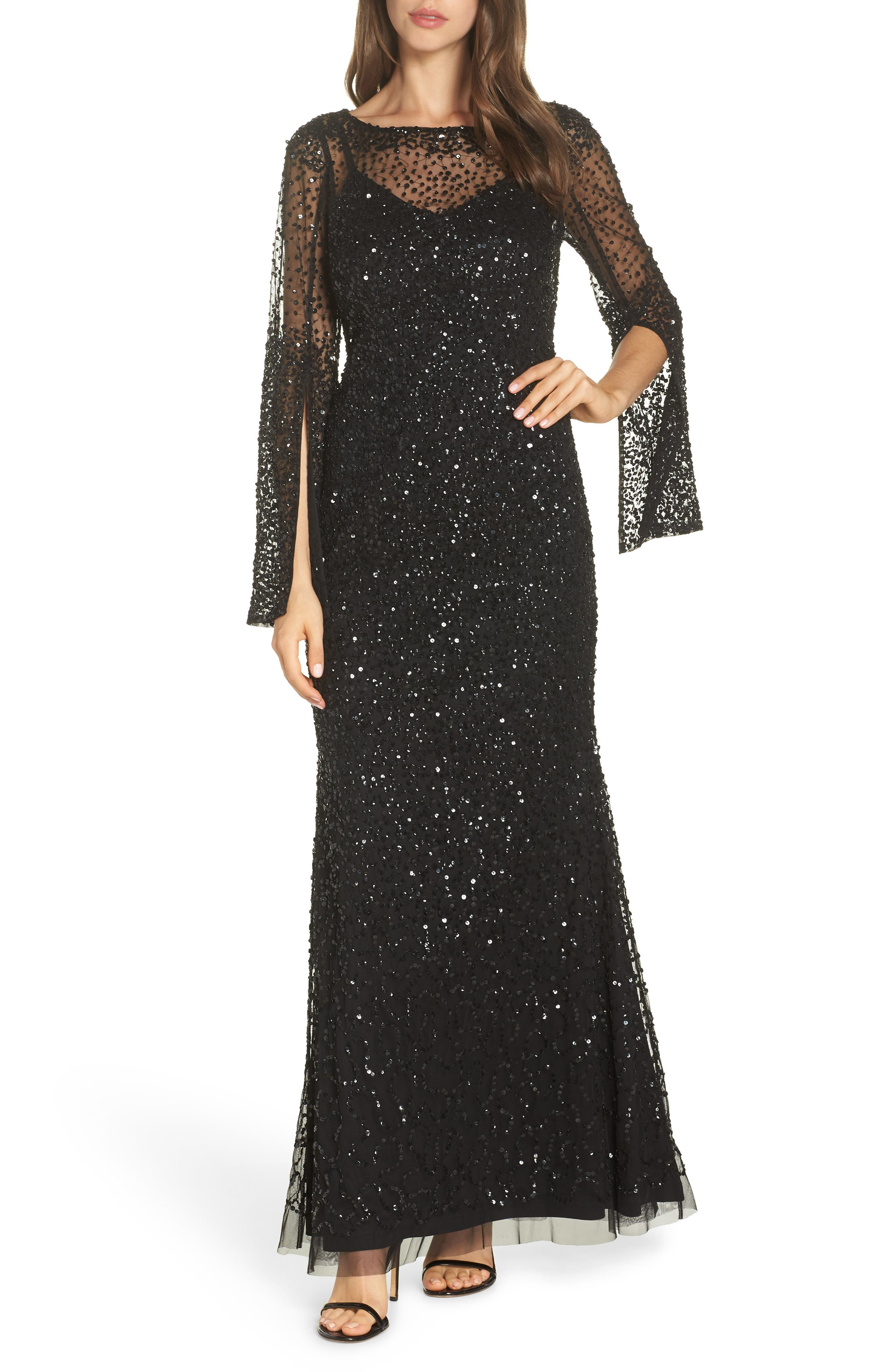 Adrianna Papell Sequin Beaded Split Cuff Gown, Black