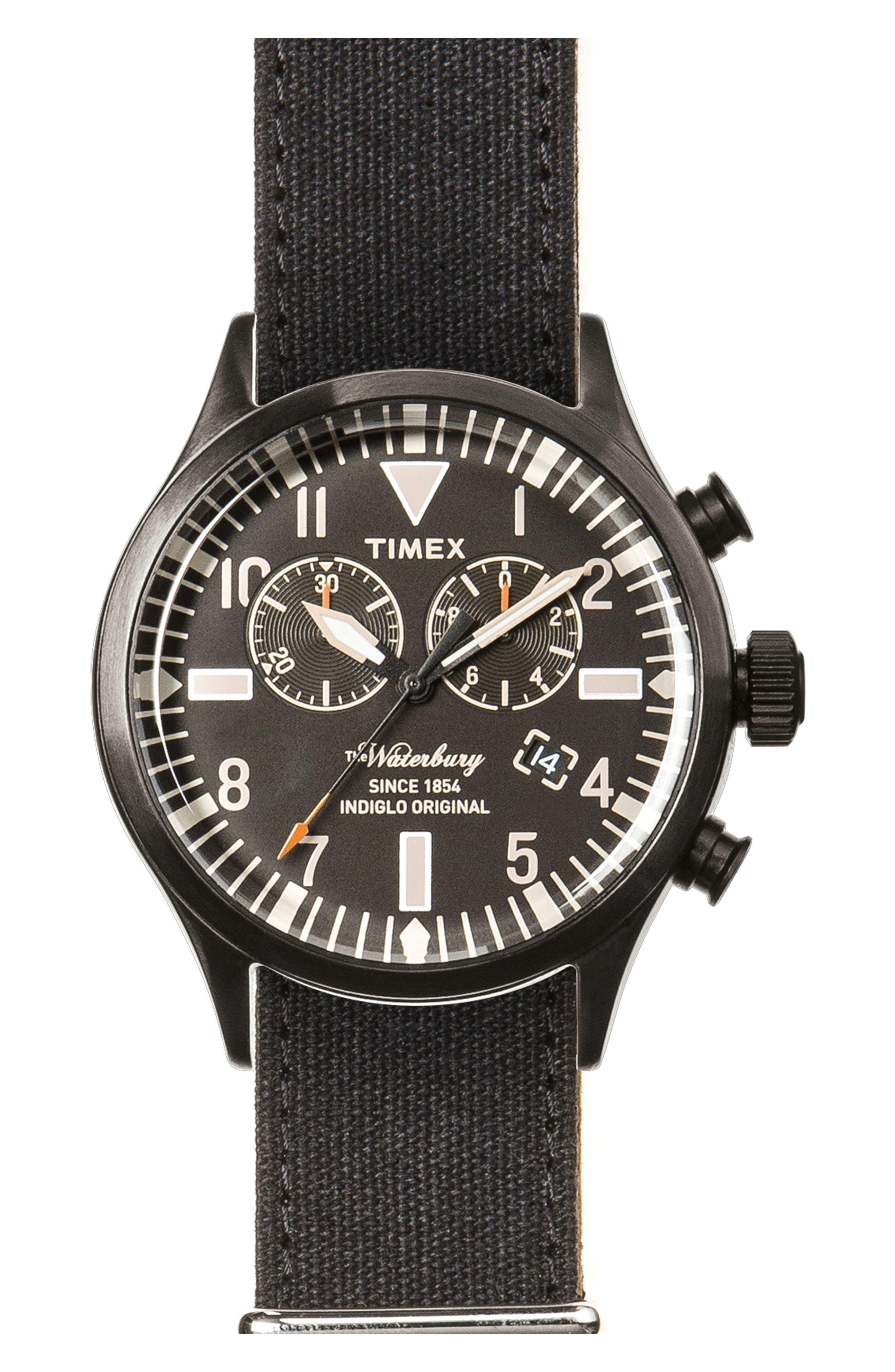 Waterbury Chronograph Fabric Strap Watch, 42mm,                         Main,                         color, 001