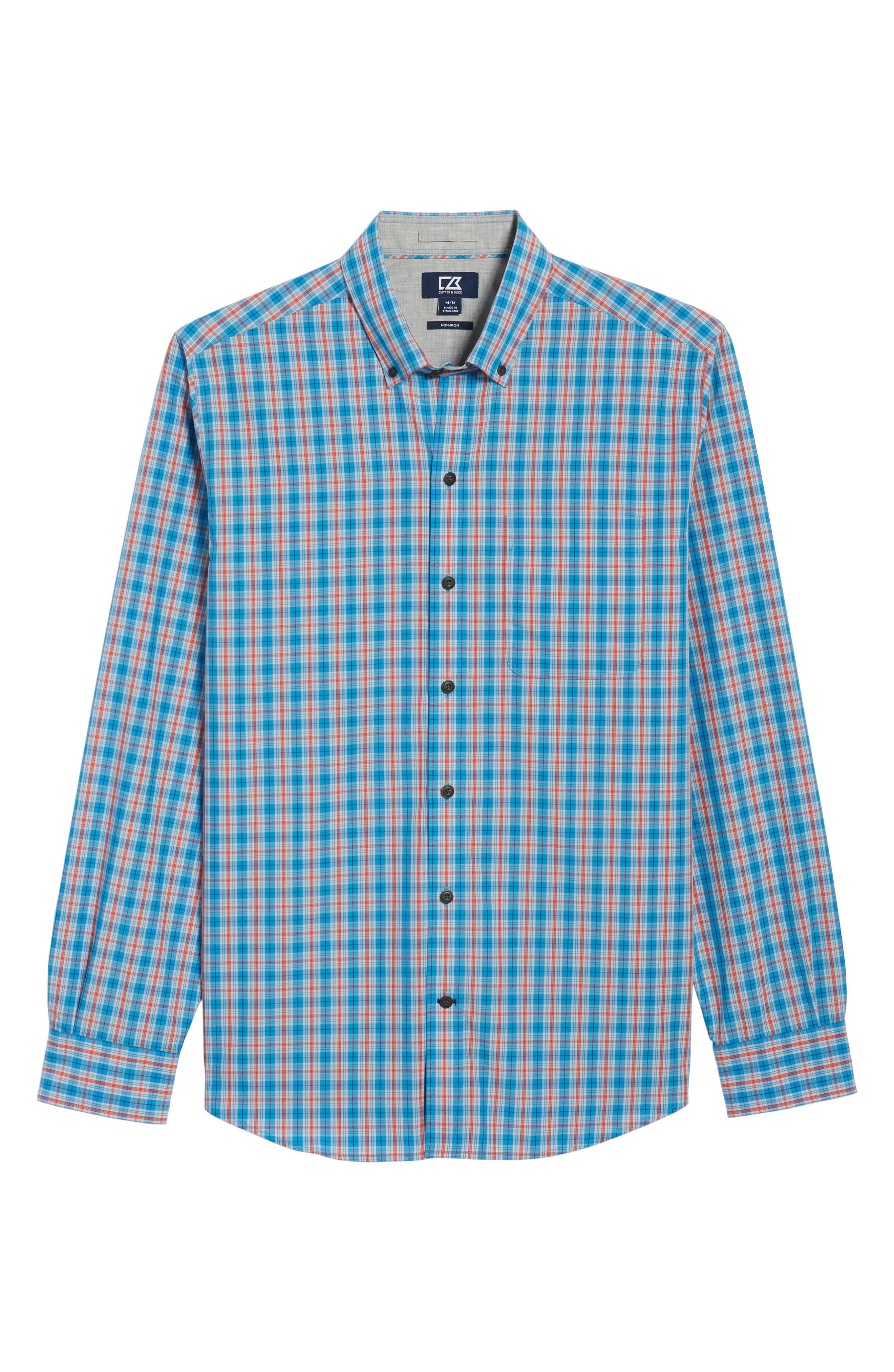 Landon Classic Fit Non-Iron Plaid Sport Shirt,                             Alternate thumbnail 6, color,                             POOLSIDE