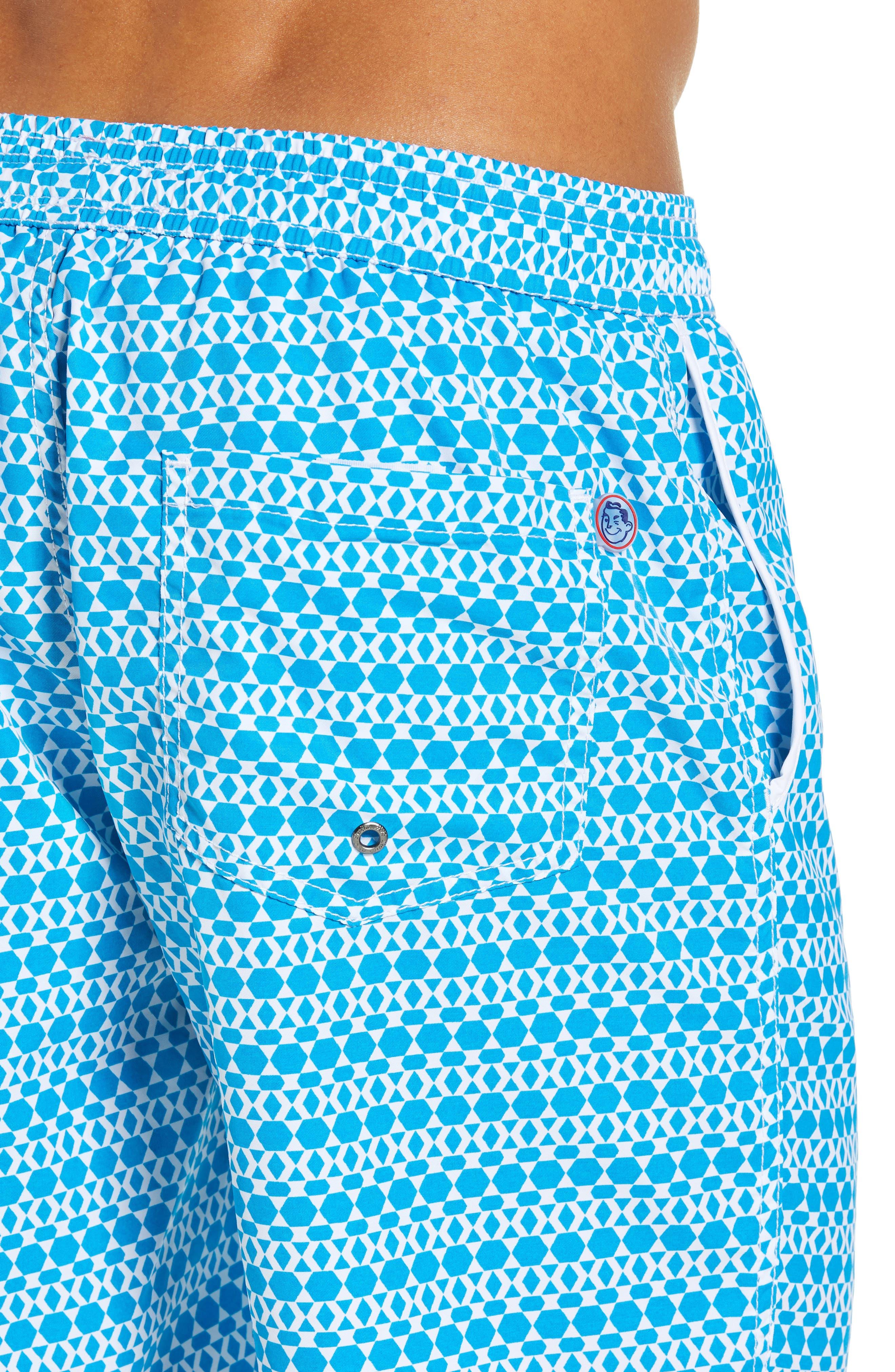 Mr. Swim Hexagon Stripe Swim Trunks,                             Alternate thumbnail 4, color,                             NAVY