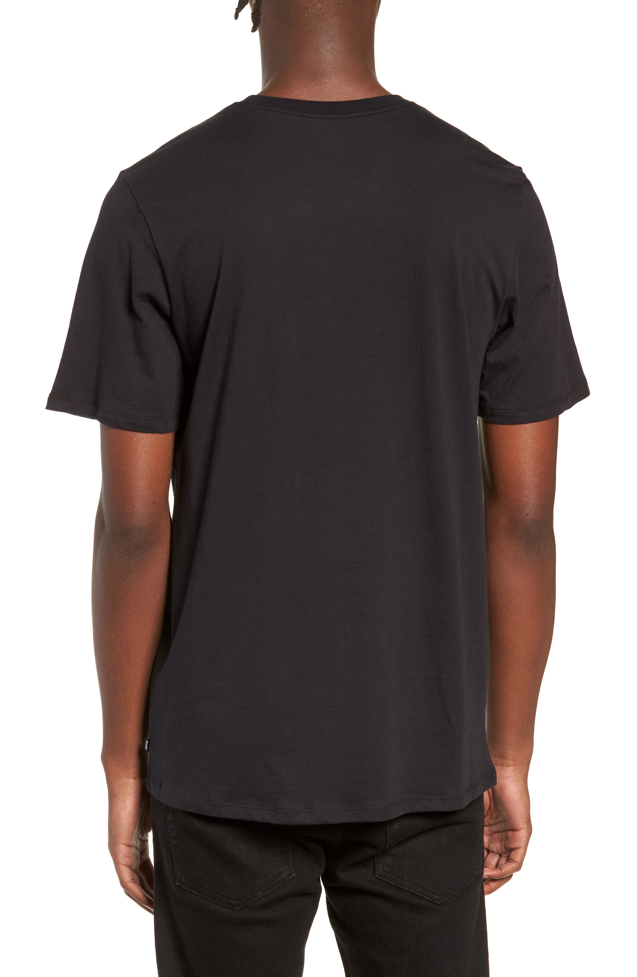 Floral Logo T-Shirt,                             Alternate thumbnail 2, color,                             BLACK/ WHITE