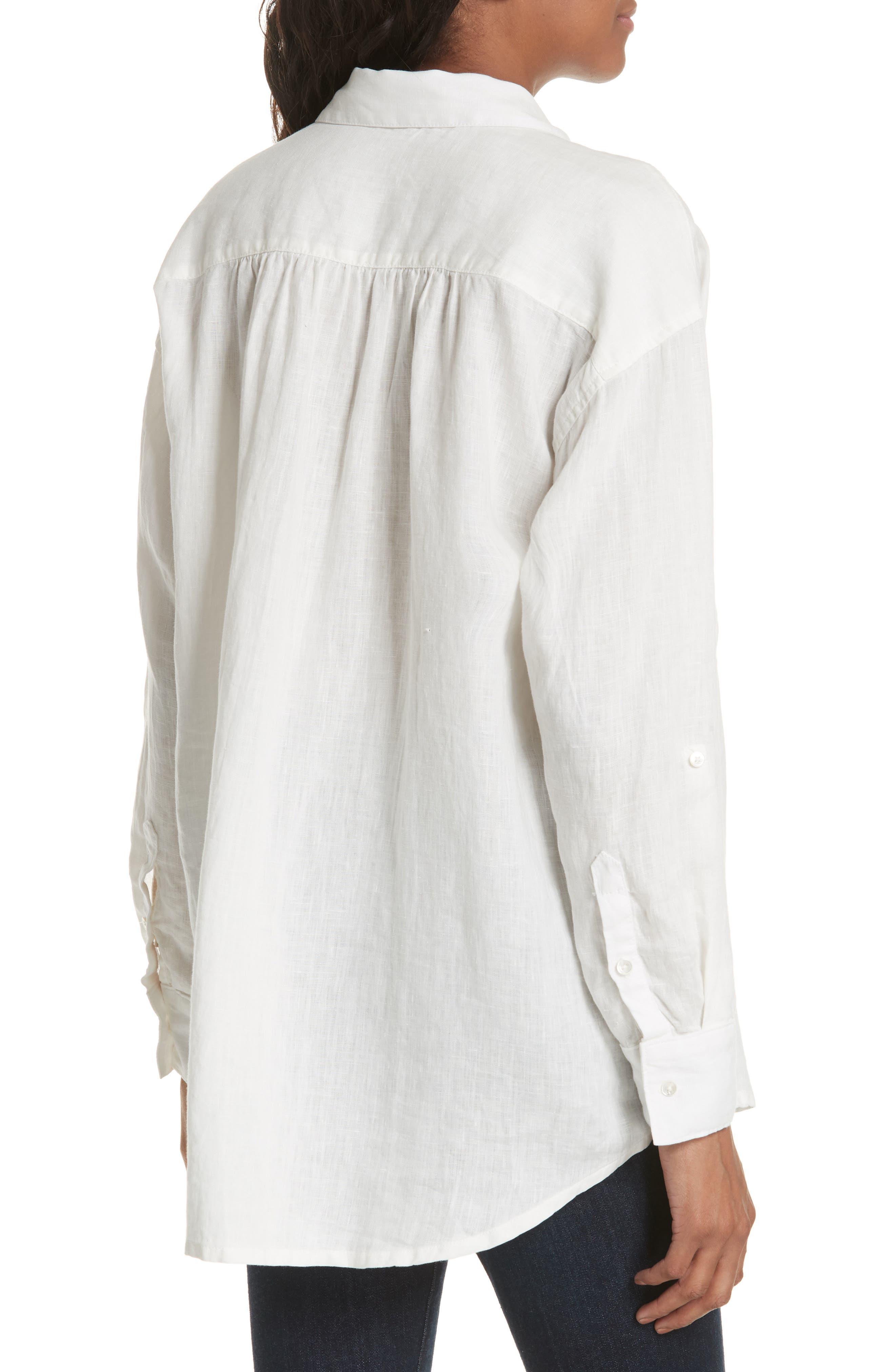 Lidelle Button Tab Linen Blouse,                             Alternate thumbnail 2, color,                             120