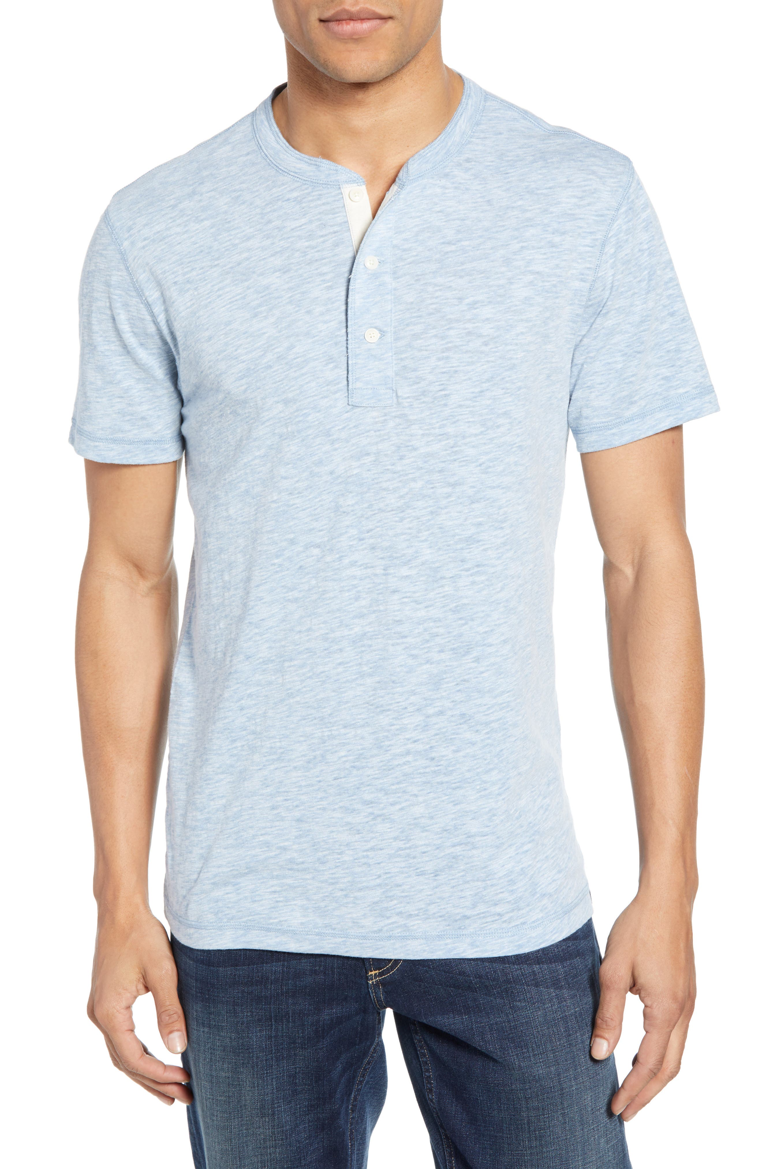 Faherty Heathered Henley, Blue
