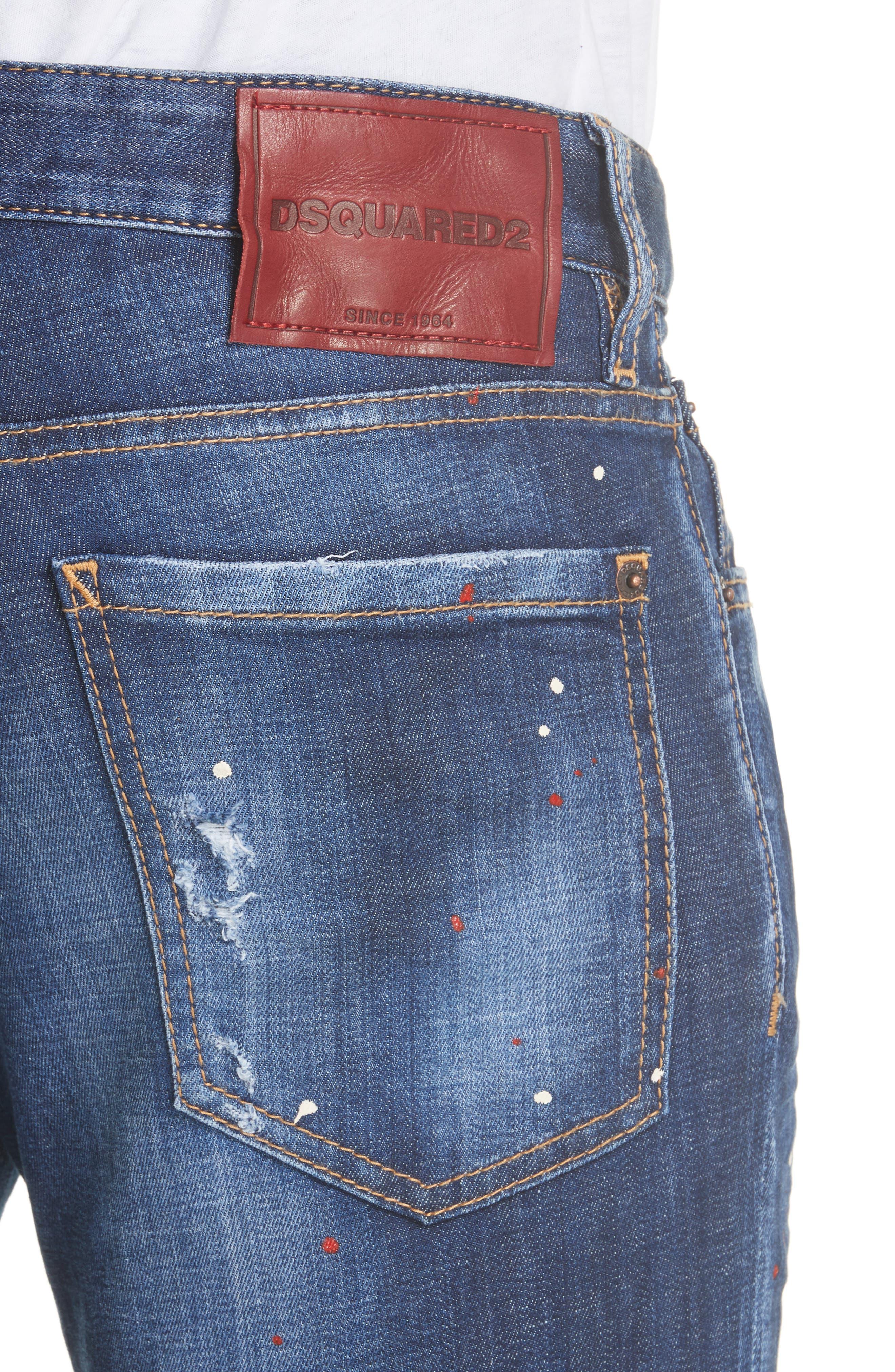 Paint Splatter Slim Fit Jeans,                             Alternate thumbnail 4, color,                             400