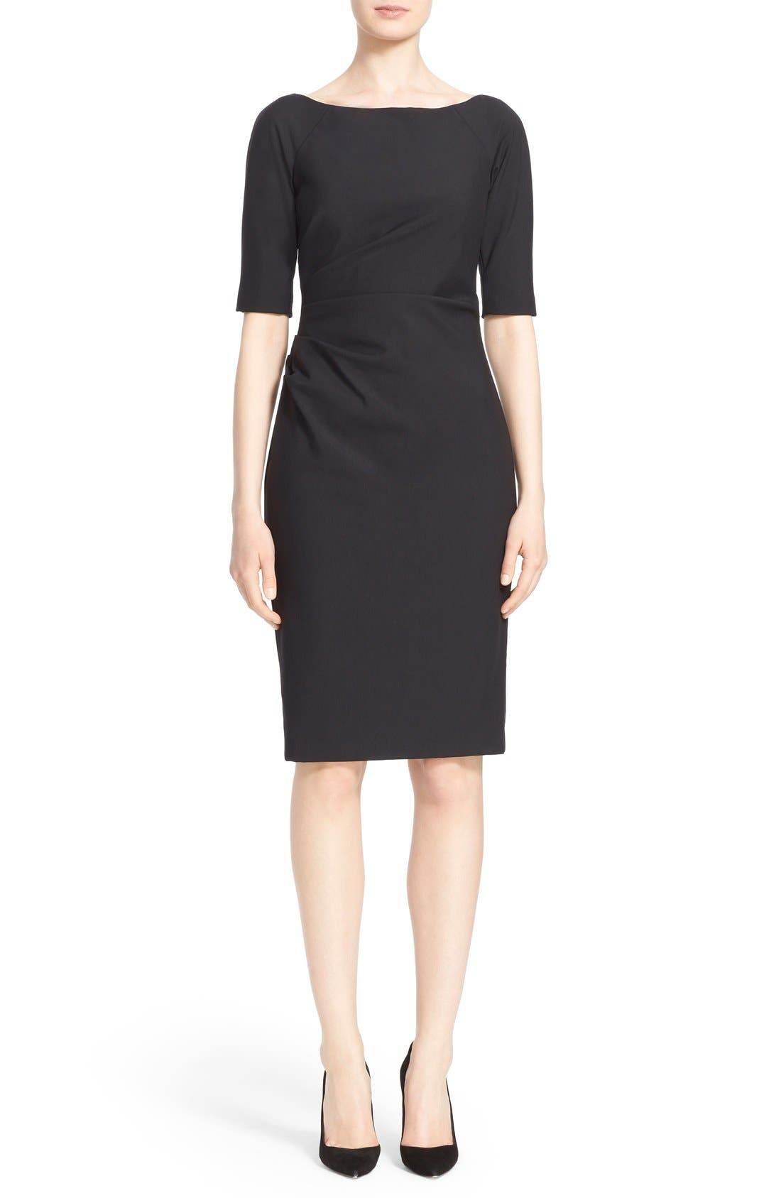 Side Ruched Stretch Twill Dress,                             Main thumbnail 1, color,                             BLACK