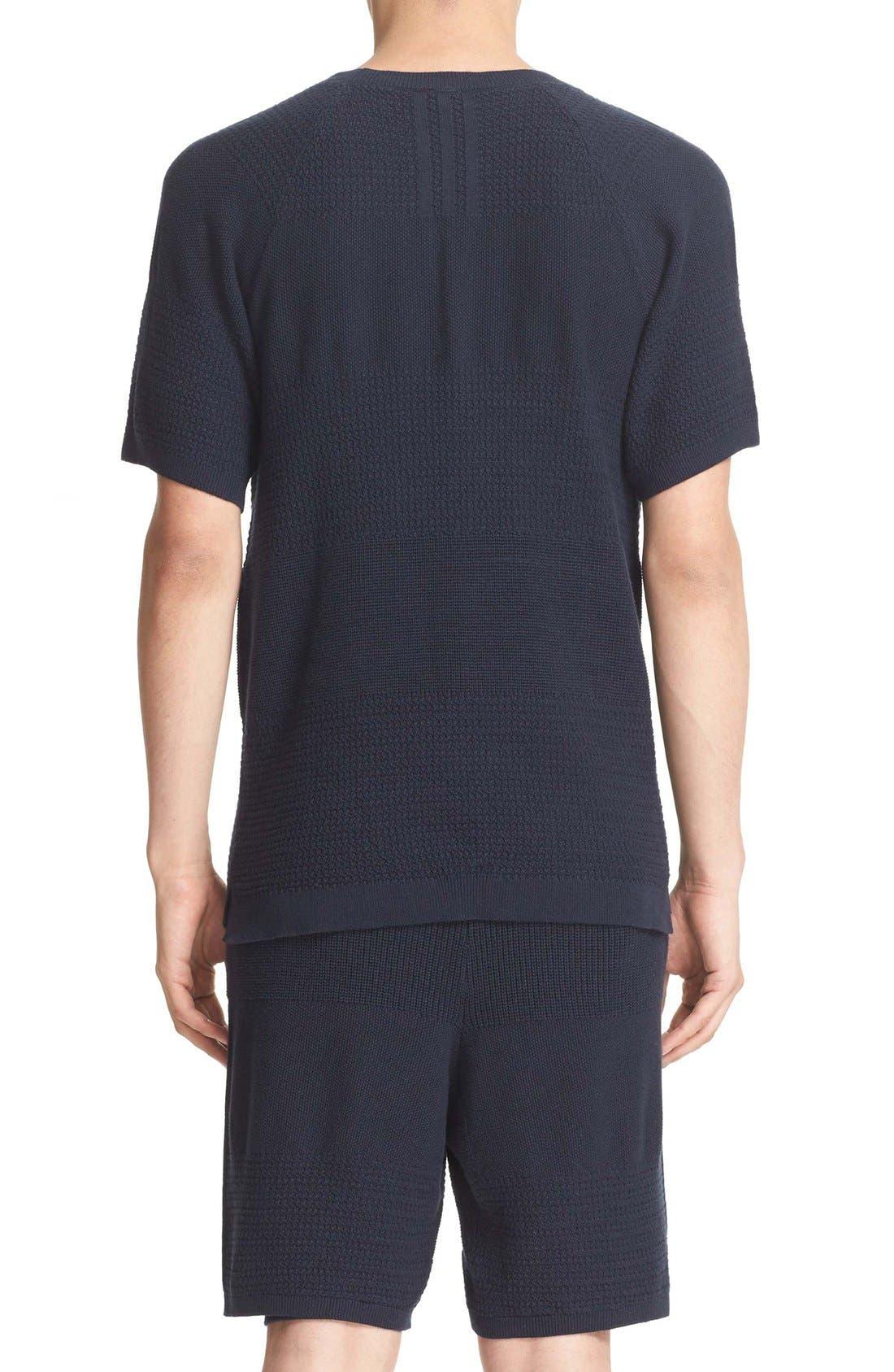 Linear Cotton & Linen T-Shirt,                             Alternate thumbnail 3, color,                             410