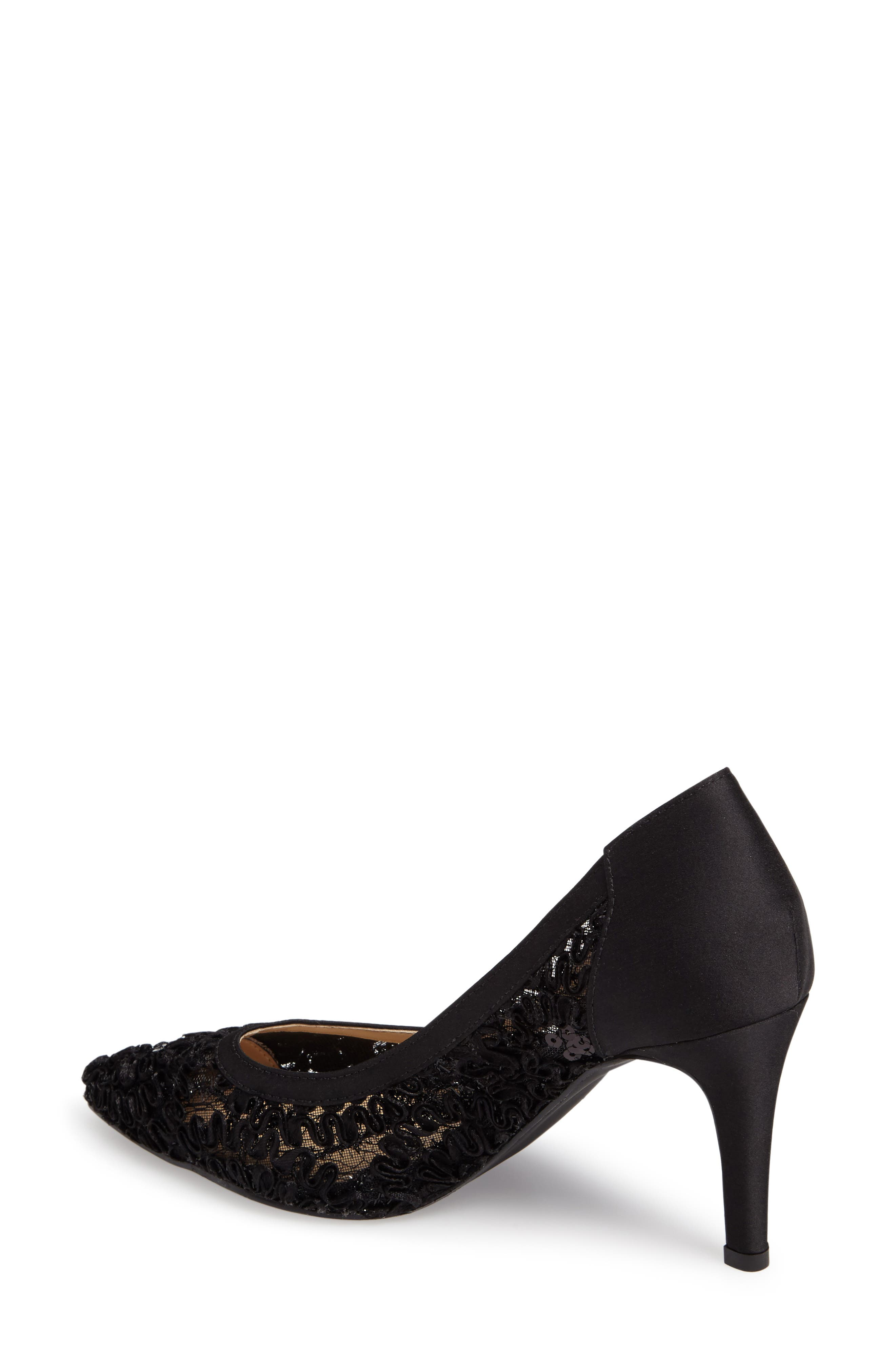Camellia Pointy Toe Pump,                             Alternate thumbnail 2, color,                             BLACK LACE FABRIC