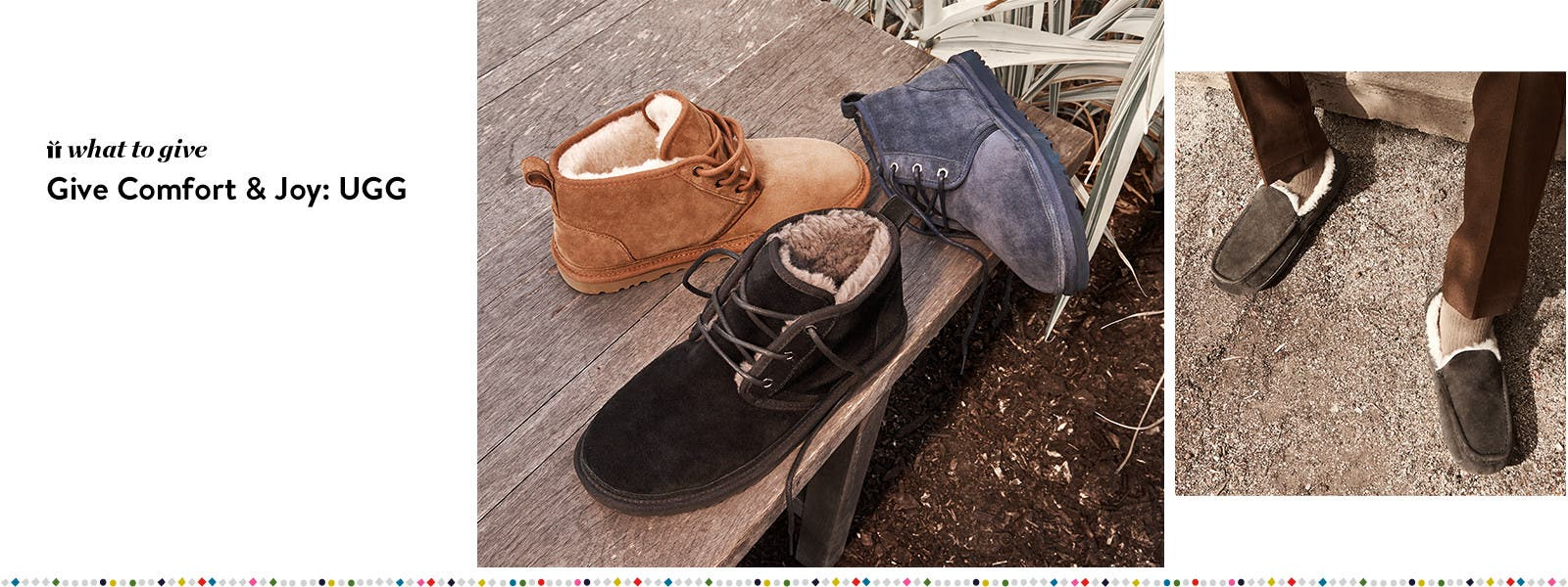 Give comfort and joy, men's slippers and men's boots from UGG.