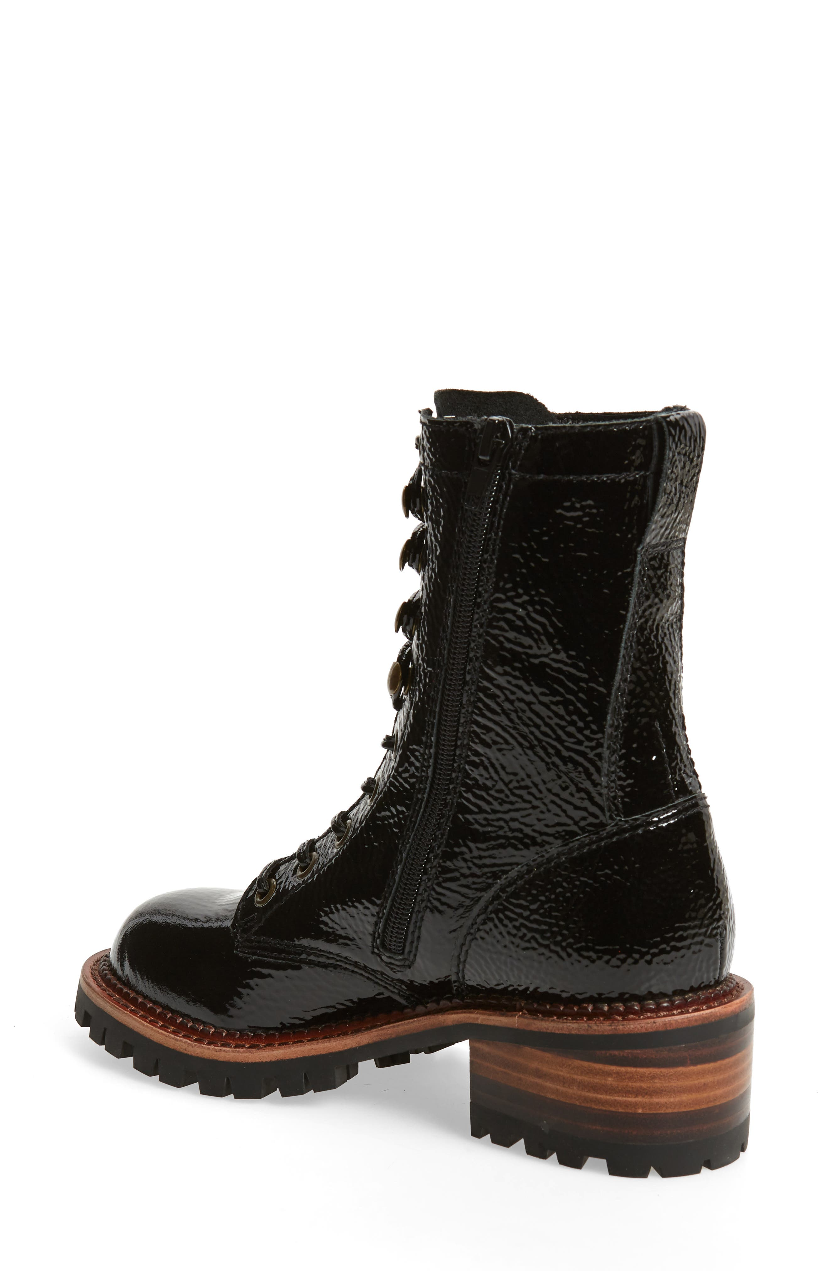 Sycamore Patent Leather Boot,                             Alternate thumbnail 2, color,                             BLACK CRINKLE PATENT LEATHER
