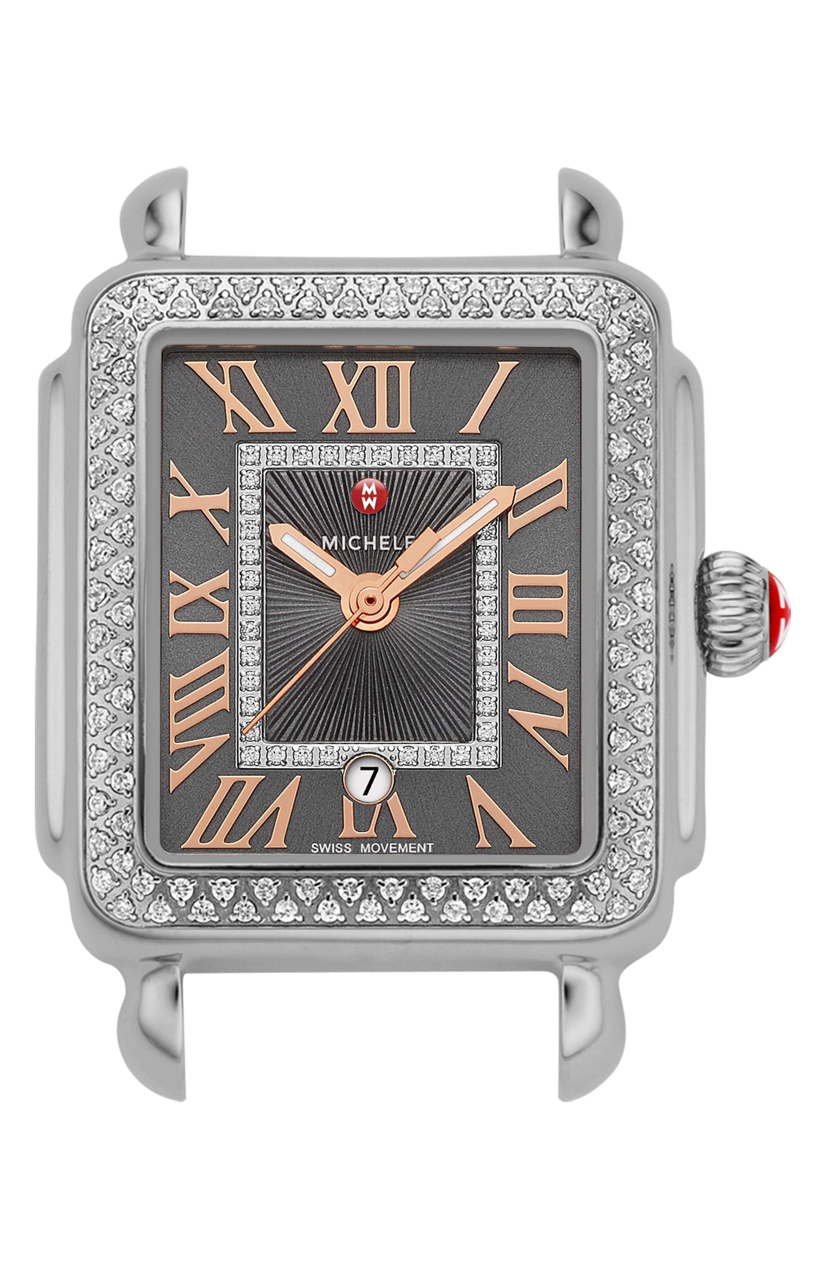 Deco Madison Mid Diamond Dial Watch Head, 29mm x 31mm,                         Main,                         color, SILVER/ SHADOW GREY