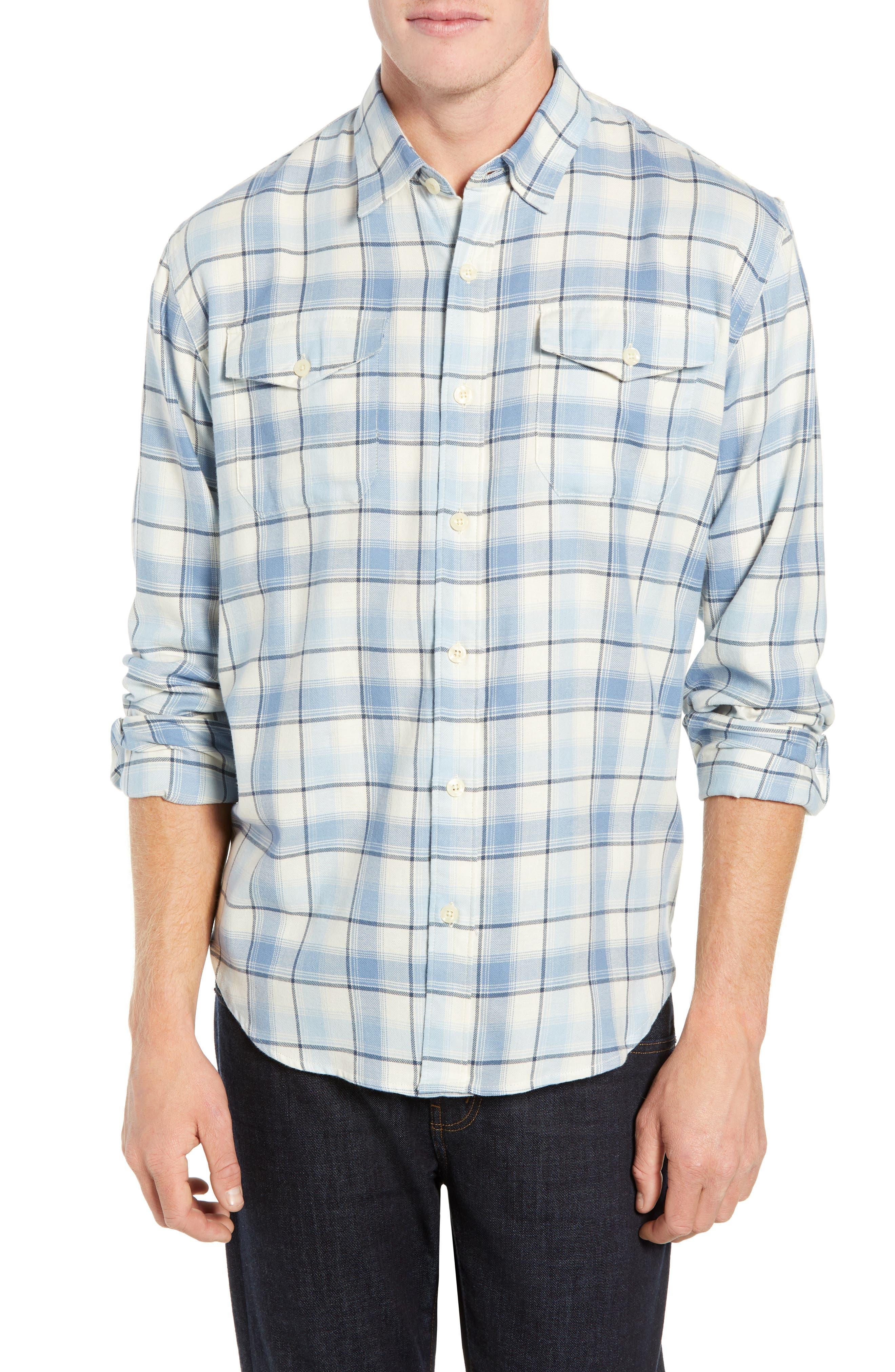 Coastaoro Honeydew Plaid Garment Washed Flannel Shirt, Blue