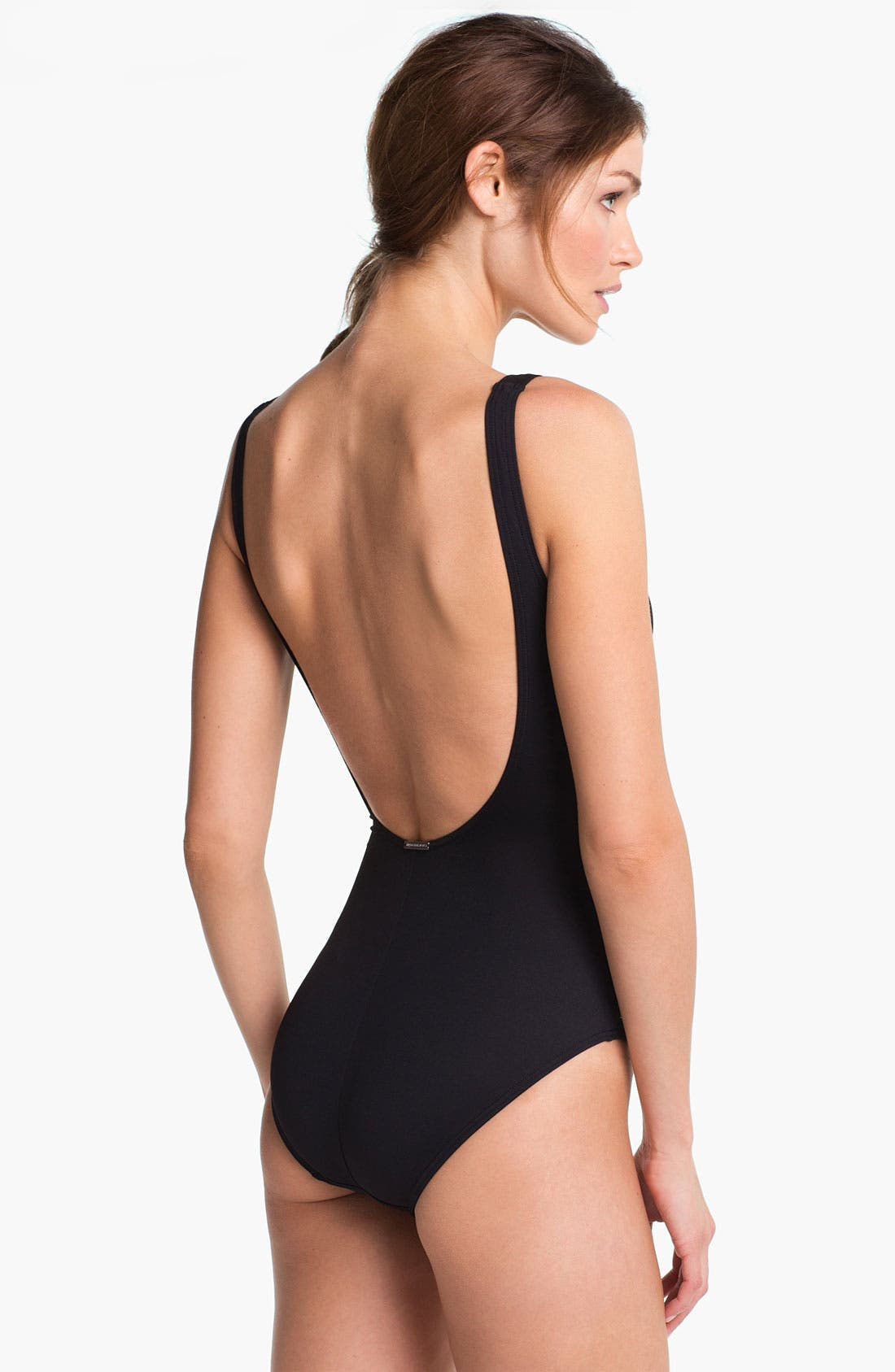 Shirred One Piece Swimsuit,                             Alternate thumbnail 3, color,                             001