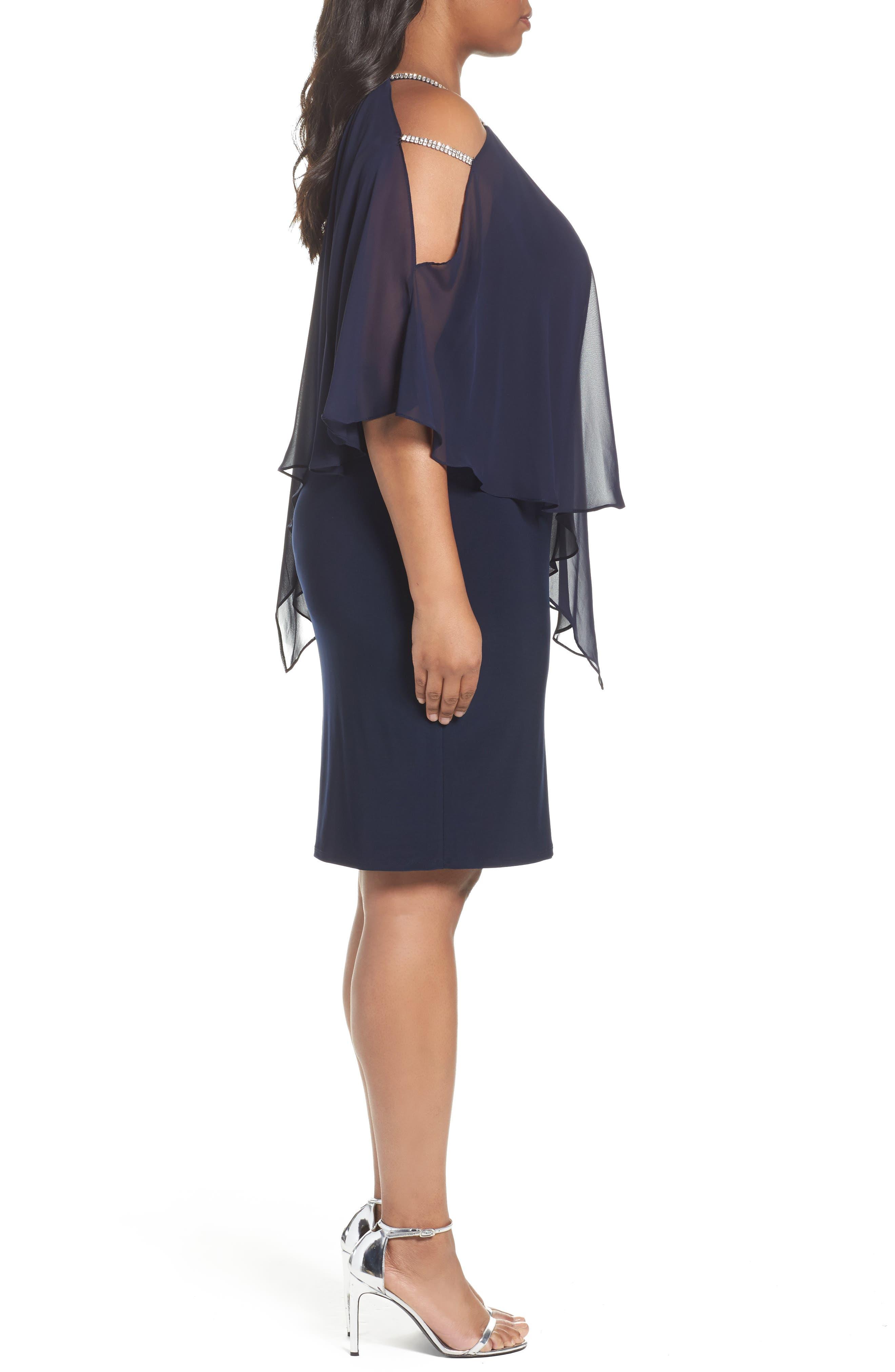 Embellished Chiffon Overlay Sheath Dress,                             Alternate thumbnail 3, color,                             408