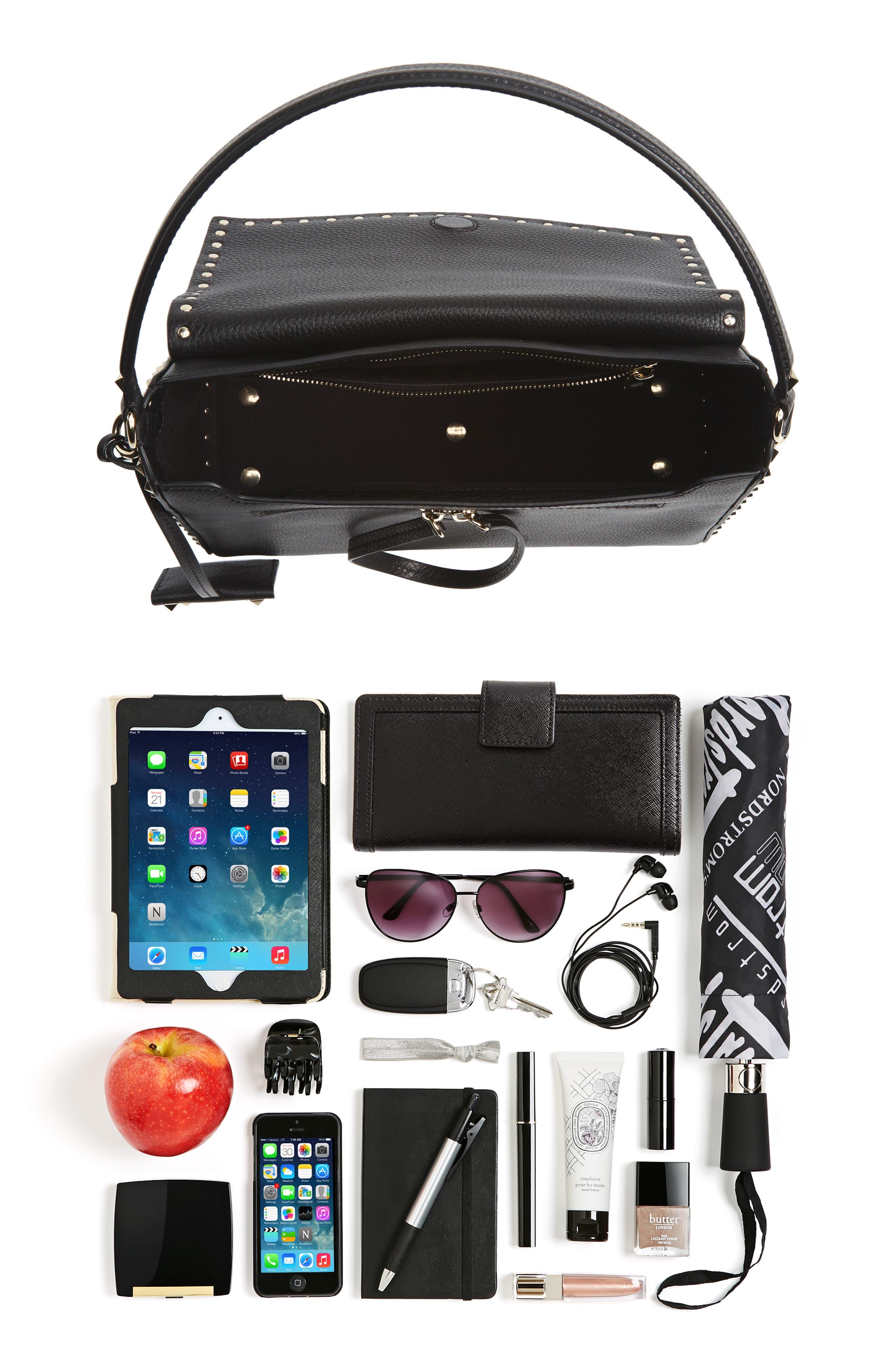 Medium Rockstud Leather Shoulder Bag,                             Alternate thumbnail 7, color,                             001