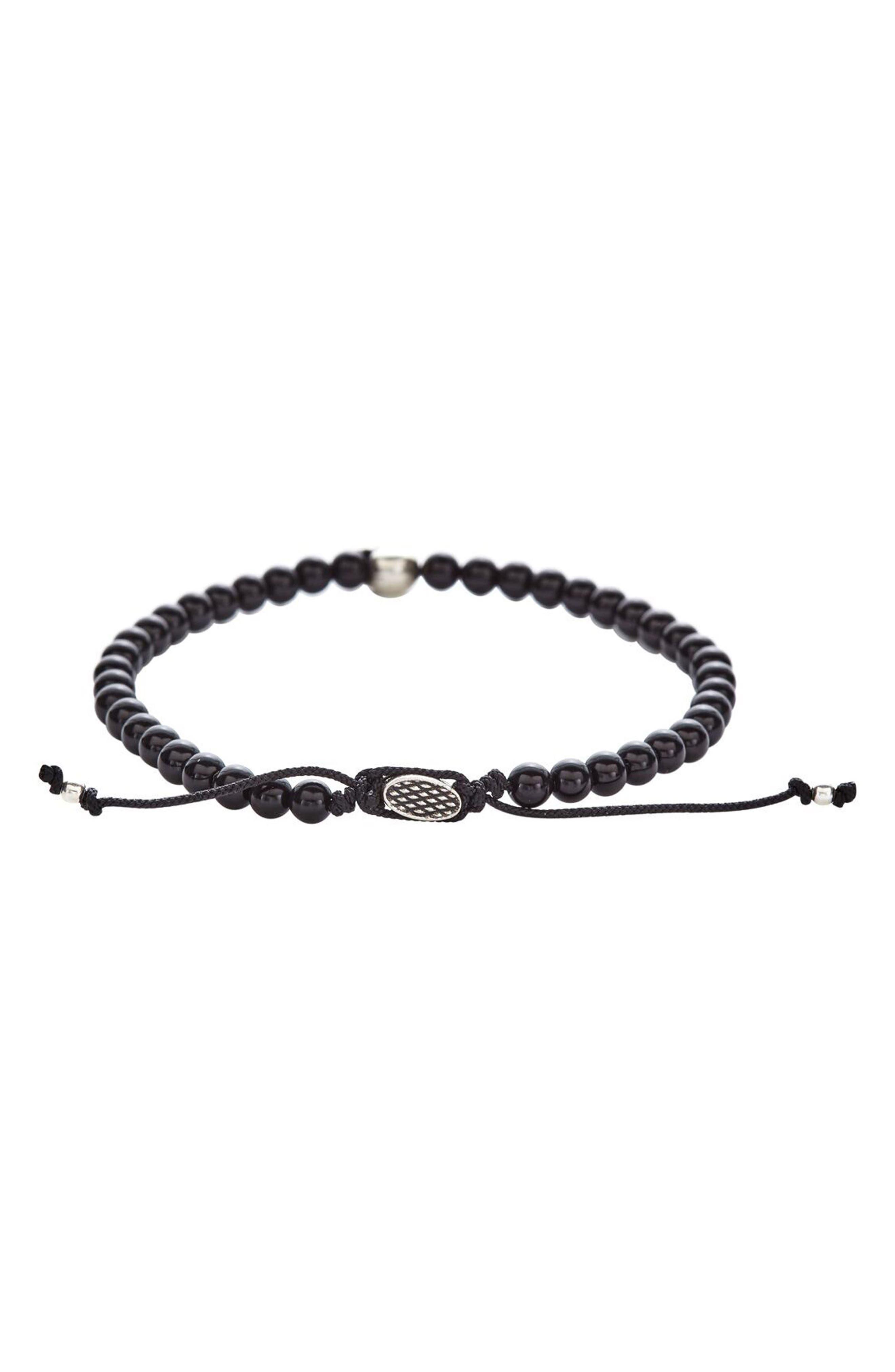 Onyx Bead Bracelet,                         Main,                         color, BLACK