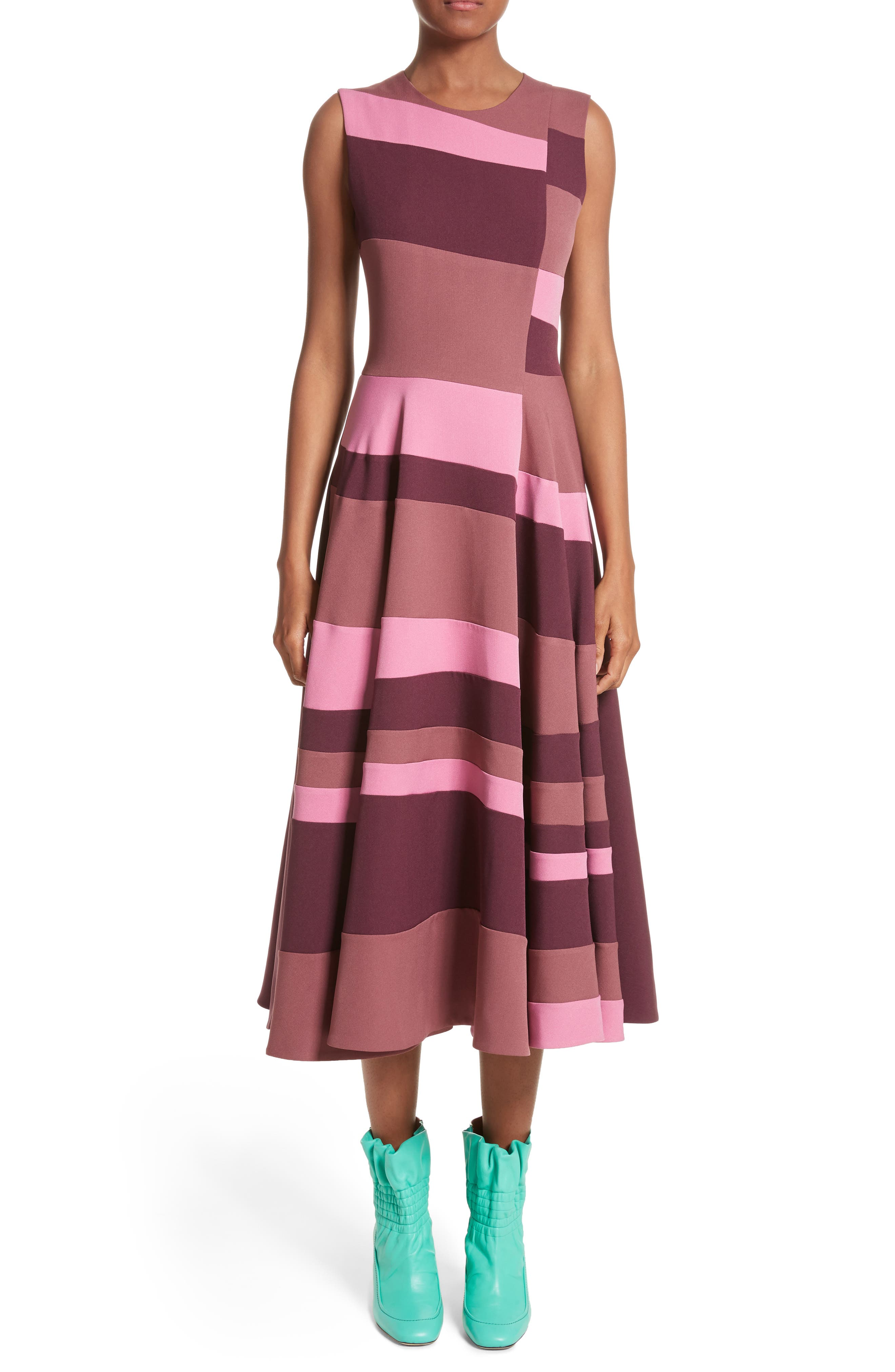 Tatum Stripe Paneled Fit & Flare Dress,                             Alternate thumbnail 5, color,                             500