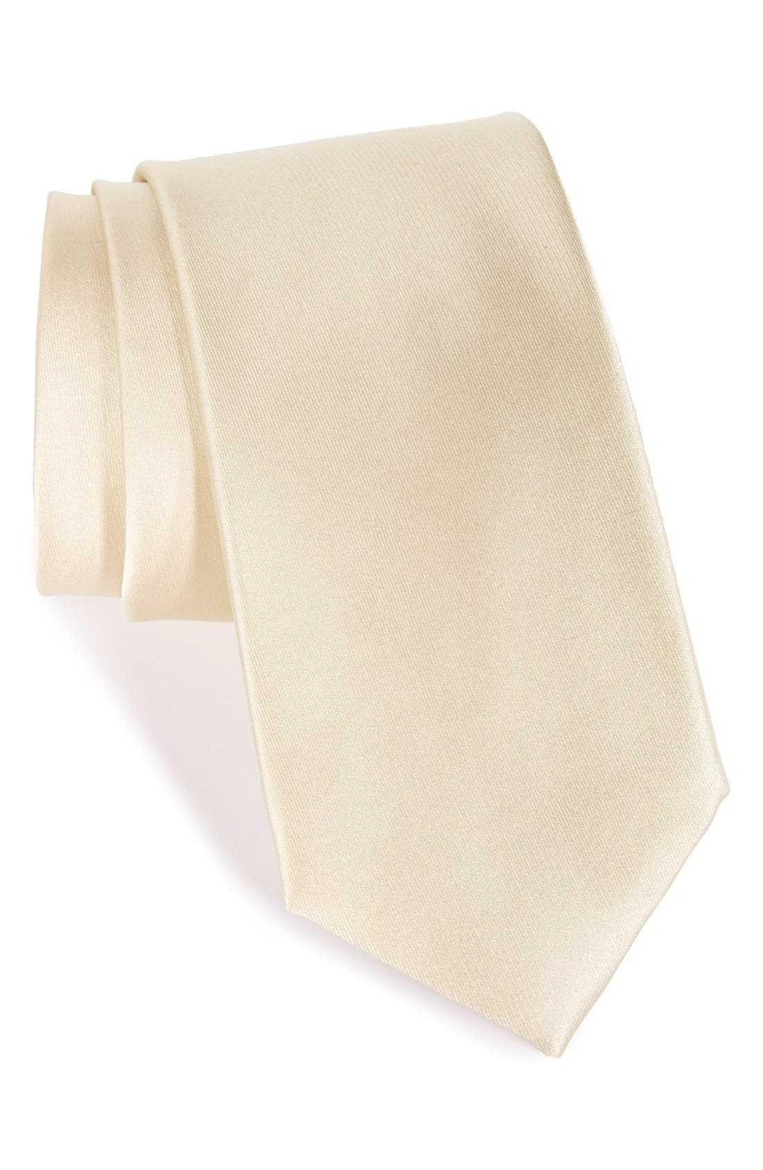 Solid Satin Silk Tie,                             Main thumbnail 6, color,