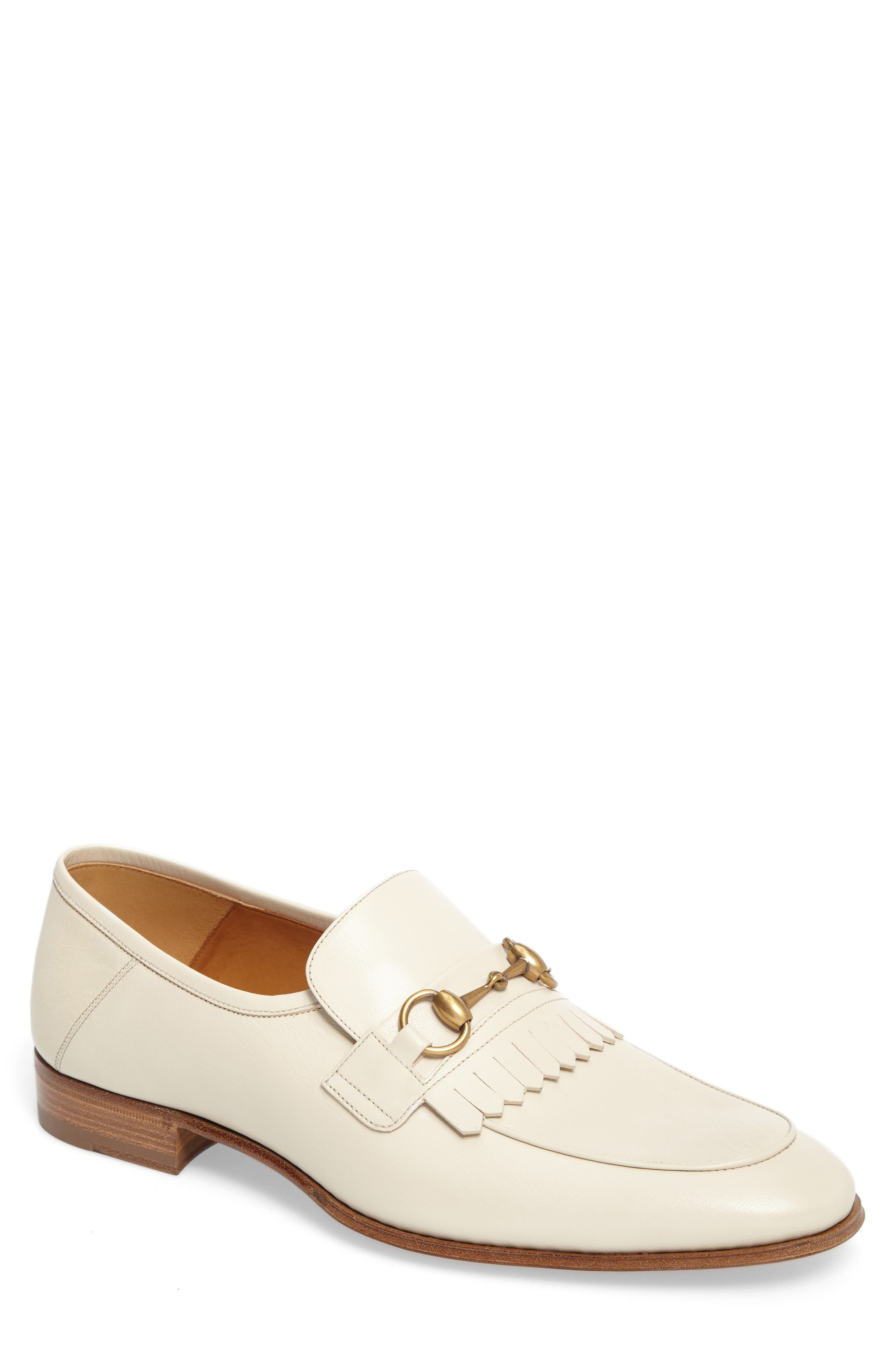 Leather Fringe Horsebit Loafer,                         Main,                         color, 141
