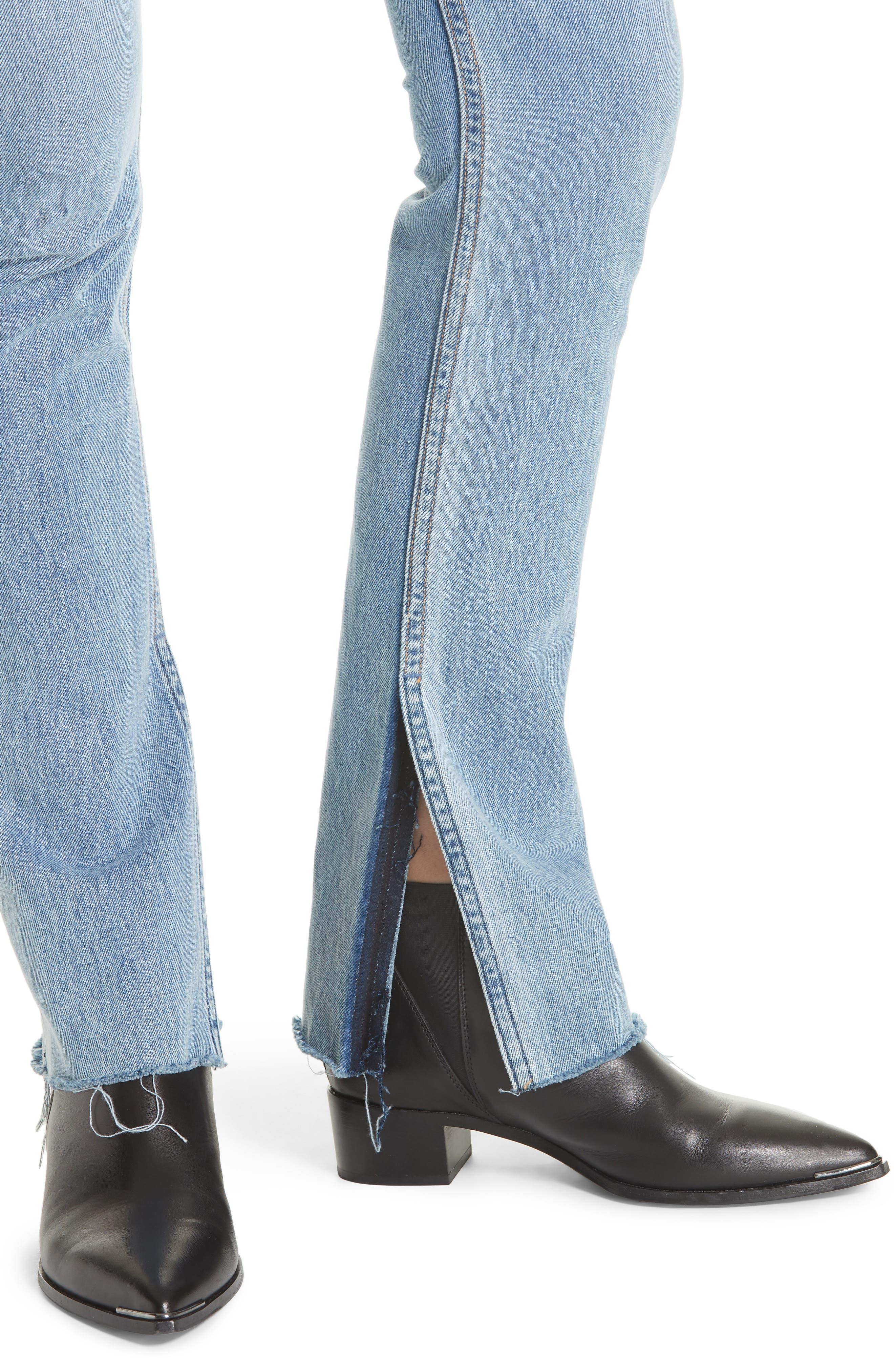 Addison Split Hem Boot Leg Jeans,                             Alternate thumbnail 4, color,                             TOUCH THE FLOOR