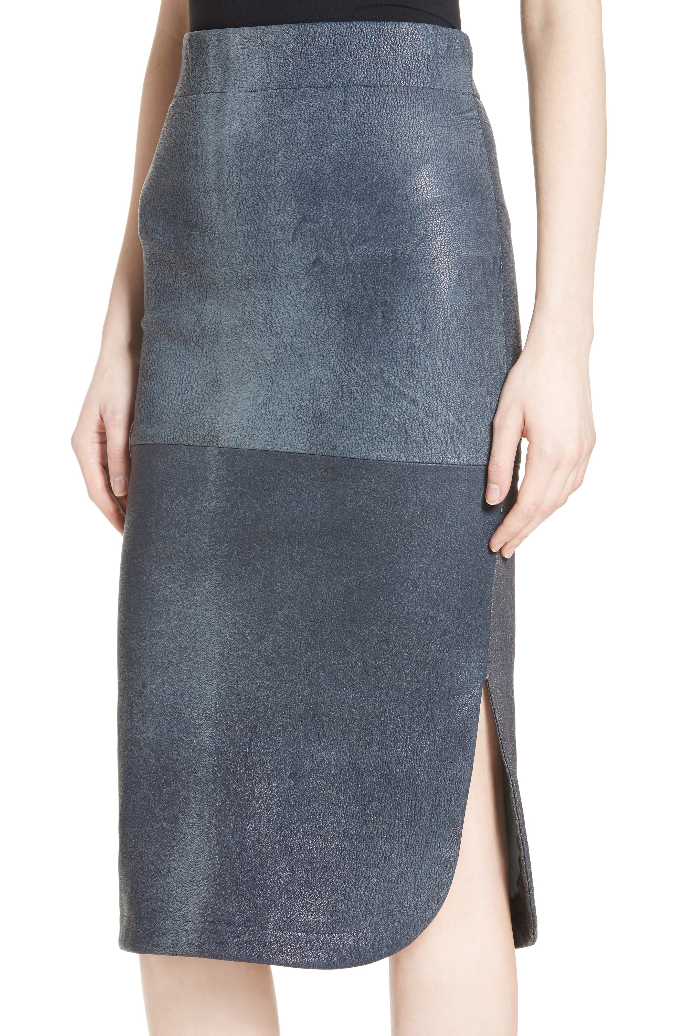 Rai Leather Curved Skirt,                             Alternate thumbnail 4, color,                             400