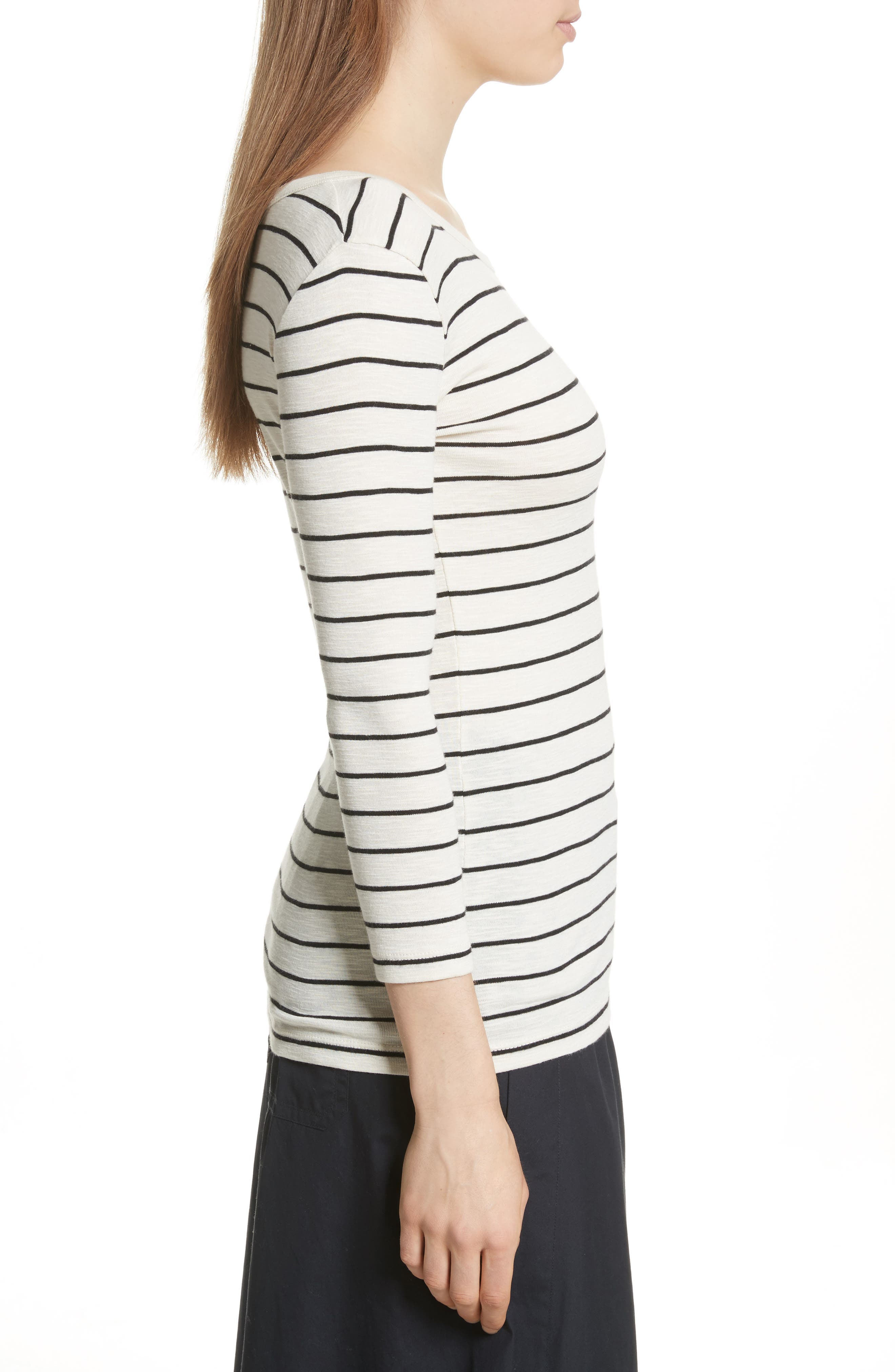 Chalk Stripe Fitted Crewneck Tee,                             Alternate thumbnail 6, color,