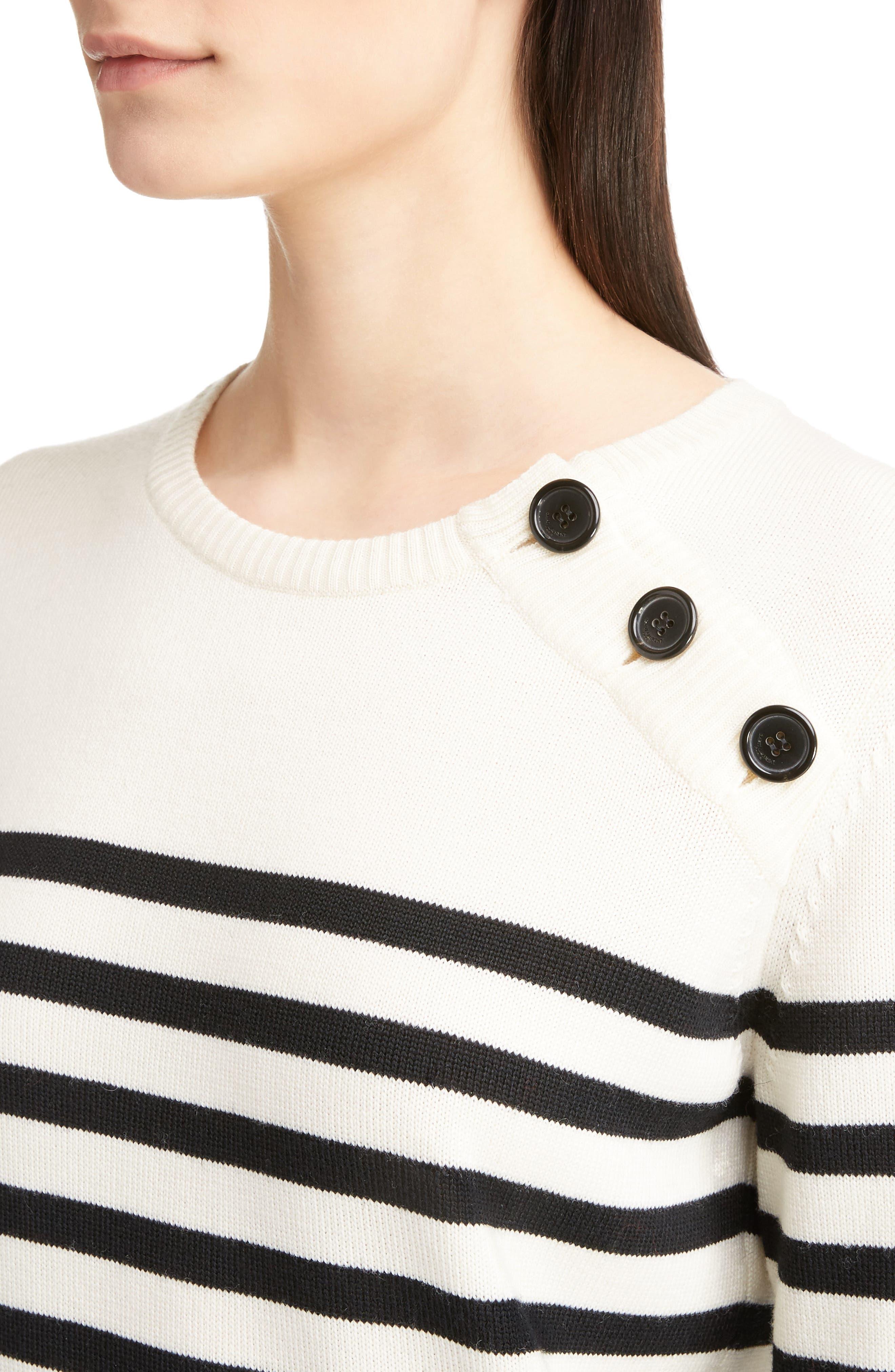 Button Detail Stripe Sweater,                             Alternate thumbnail 4, color,                             100