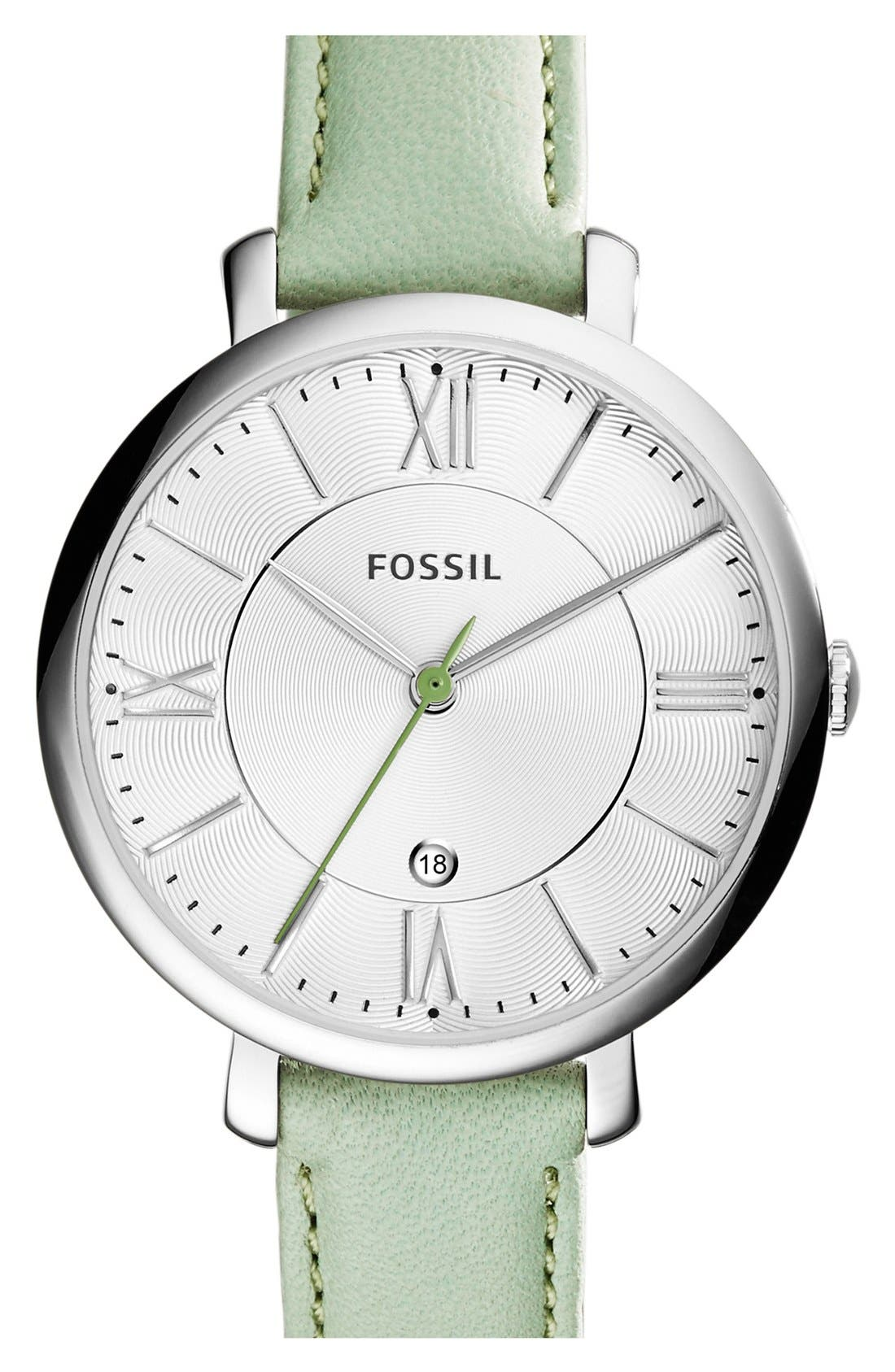 'Jacqueline' Round Leather Strap Watch, 36mm,                             Main thumbnail 11, color,