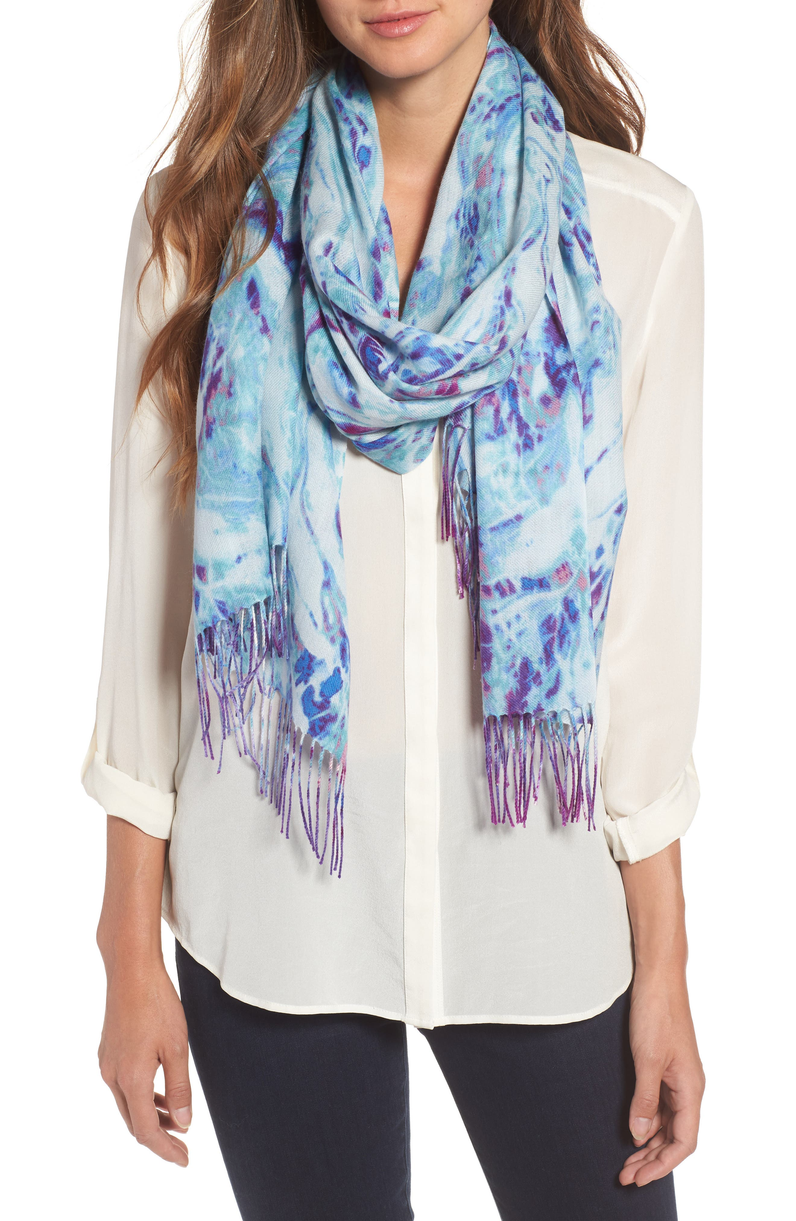Marble Tissue Wool & Cashmere Scarf,                             Main thumbnail 2, color,