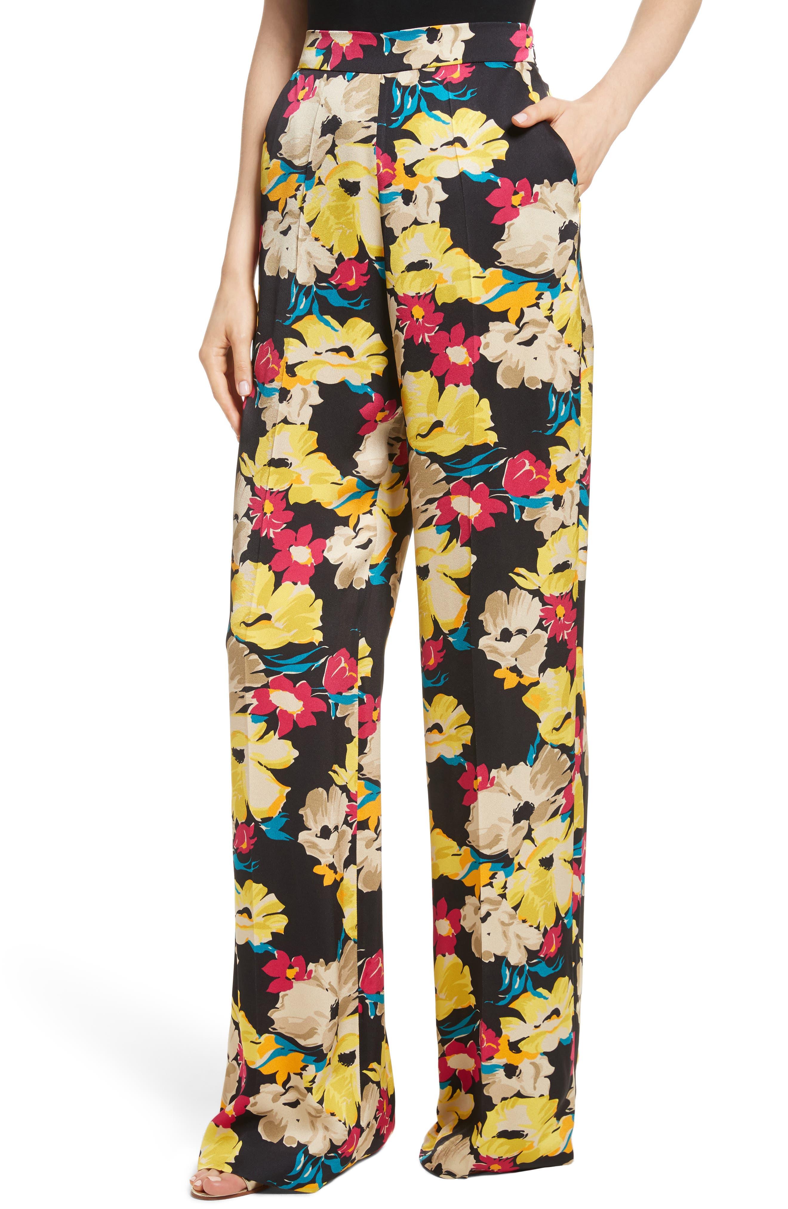 Floral Print Wide Leg Pants,                             Alternate thumbnail 4, color,                             001