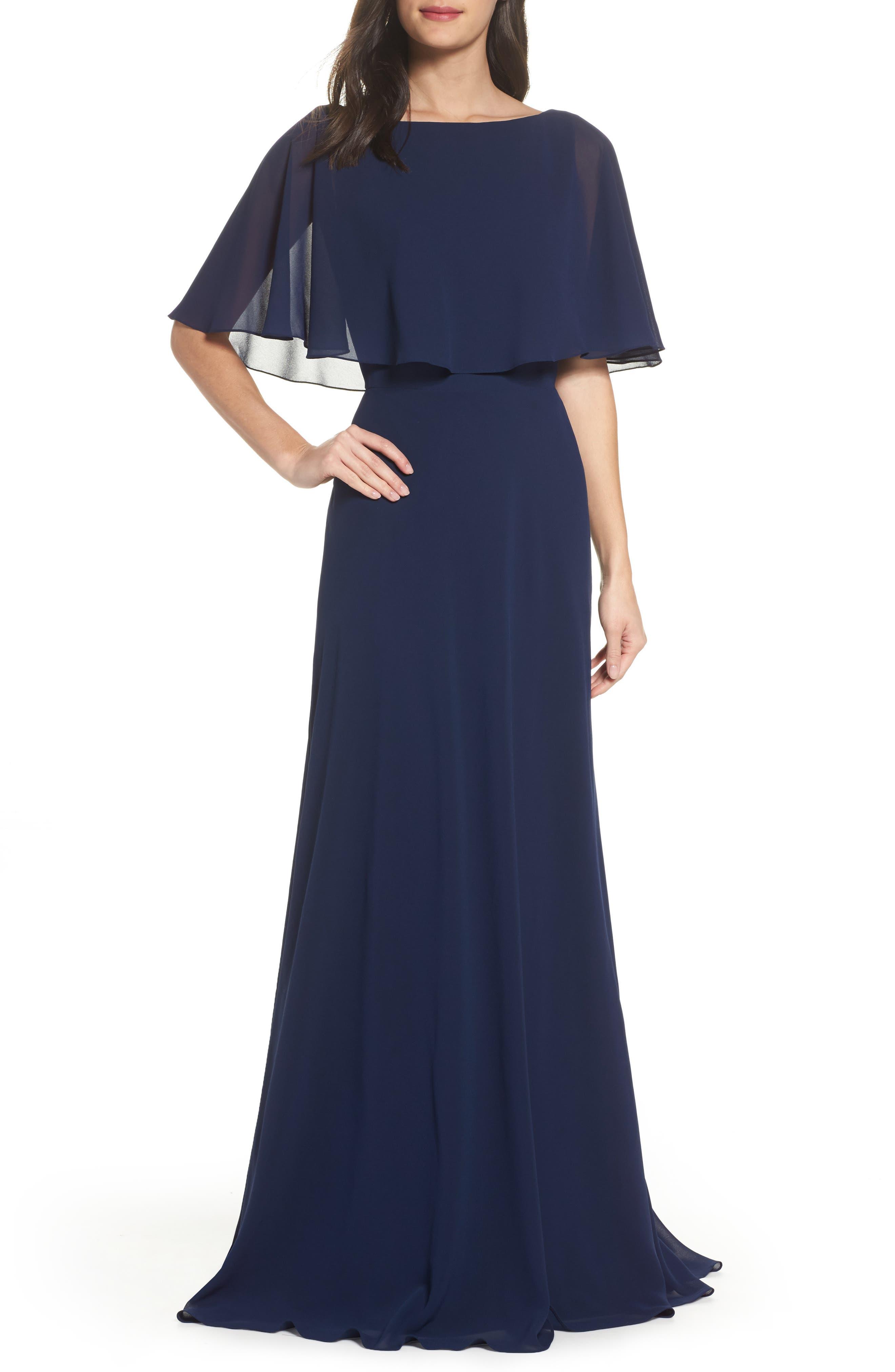 La Femme Popover Chiffon Gown, Blue