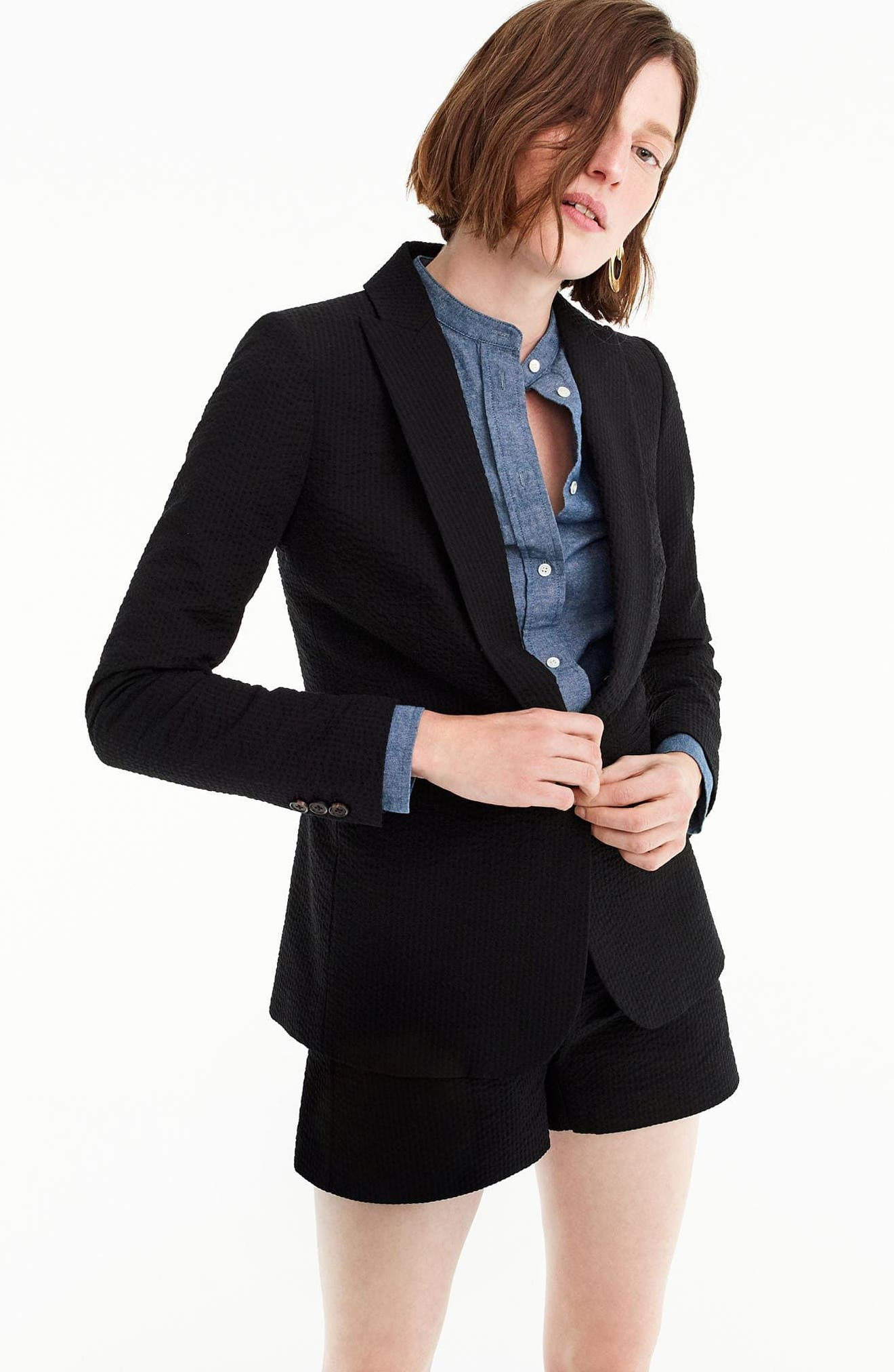 Eniko Seersucker Blazer,                             Alternate thumbnail 4, color,                             001