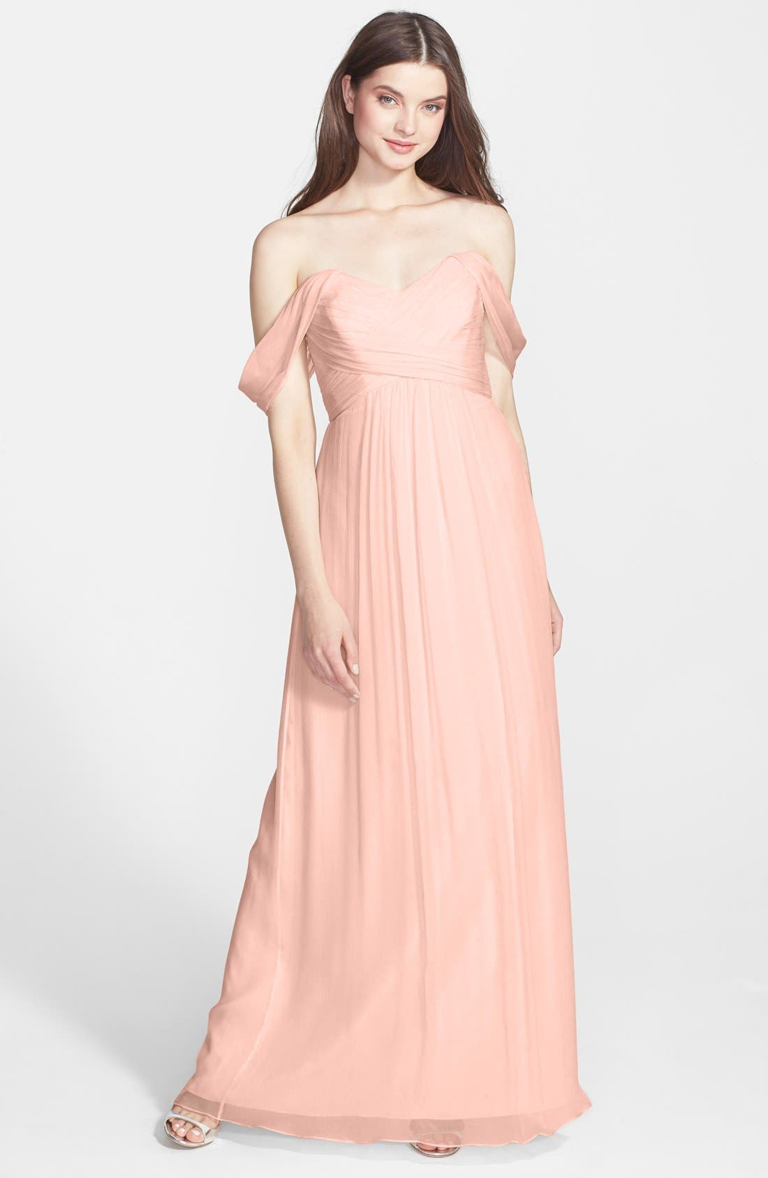 AMSALE Convertible Crinkled Silk Chiffon Gown in Blush