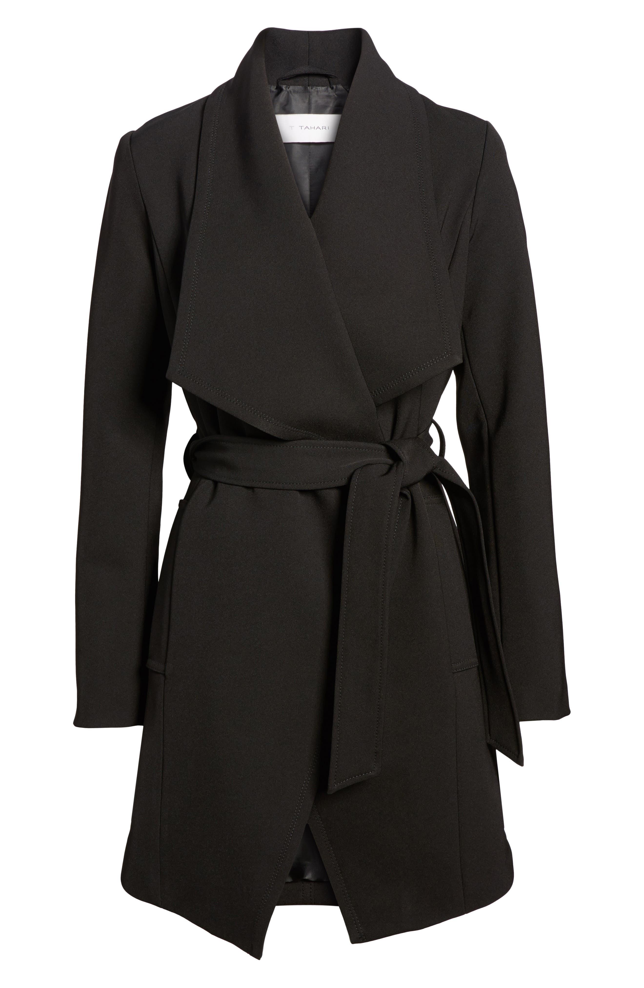 Abbey Draped Collar Wrap Coat,                             Alternate thumbnail 6, color,                             BLACK