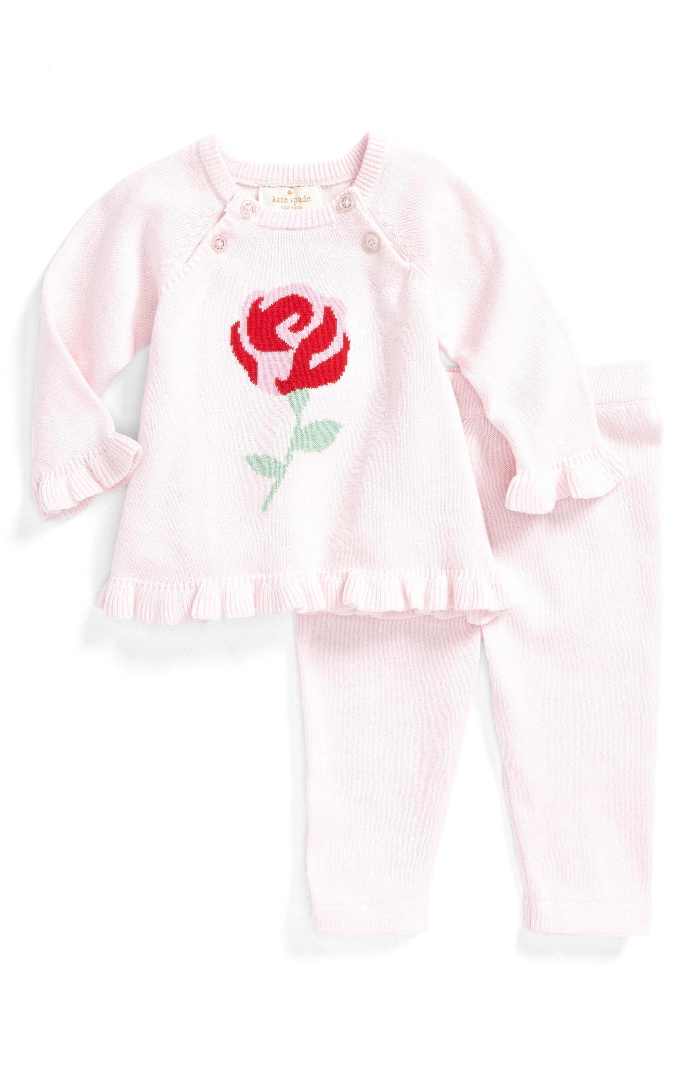 kate spade intarsia rose sweater & leggings set,                         Main,                         color, 680