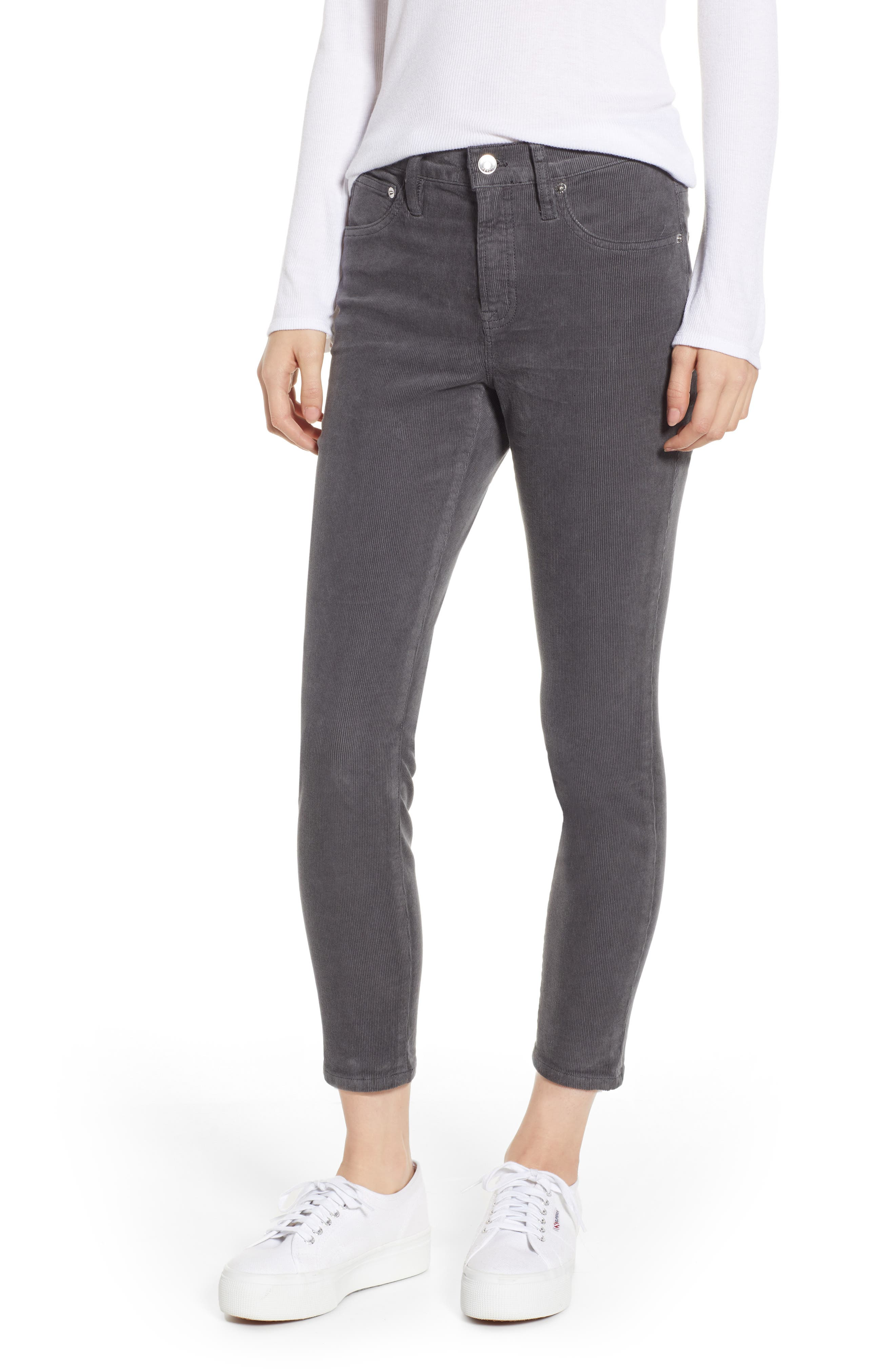 High Rise Toothpick Corduroy Jeans in Coal Grey